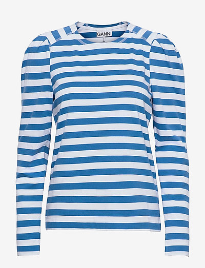 Striped Cotton Jersey - pitkähihaiset t-paidat - bright white