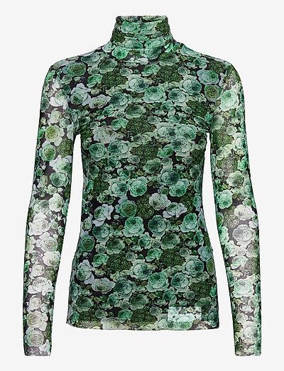 Printed Mesh - t-shirt & tops - kelly green
