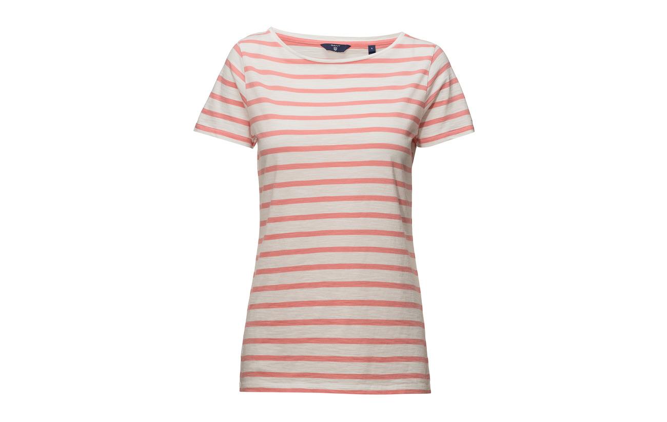 Strawberry Pink 100 Coton T Équipement Stripe Ss O2 Breton Gant shirt W70qYZZx