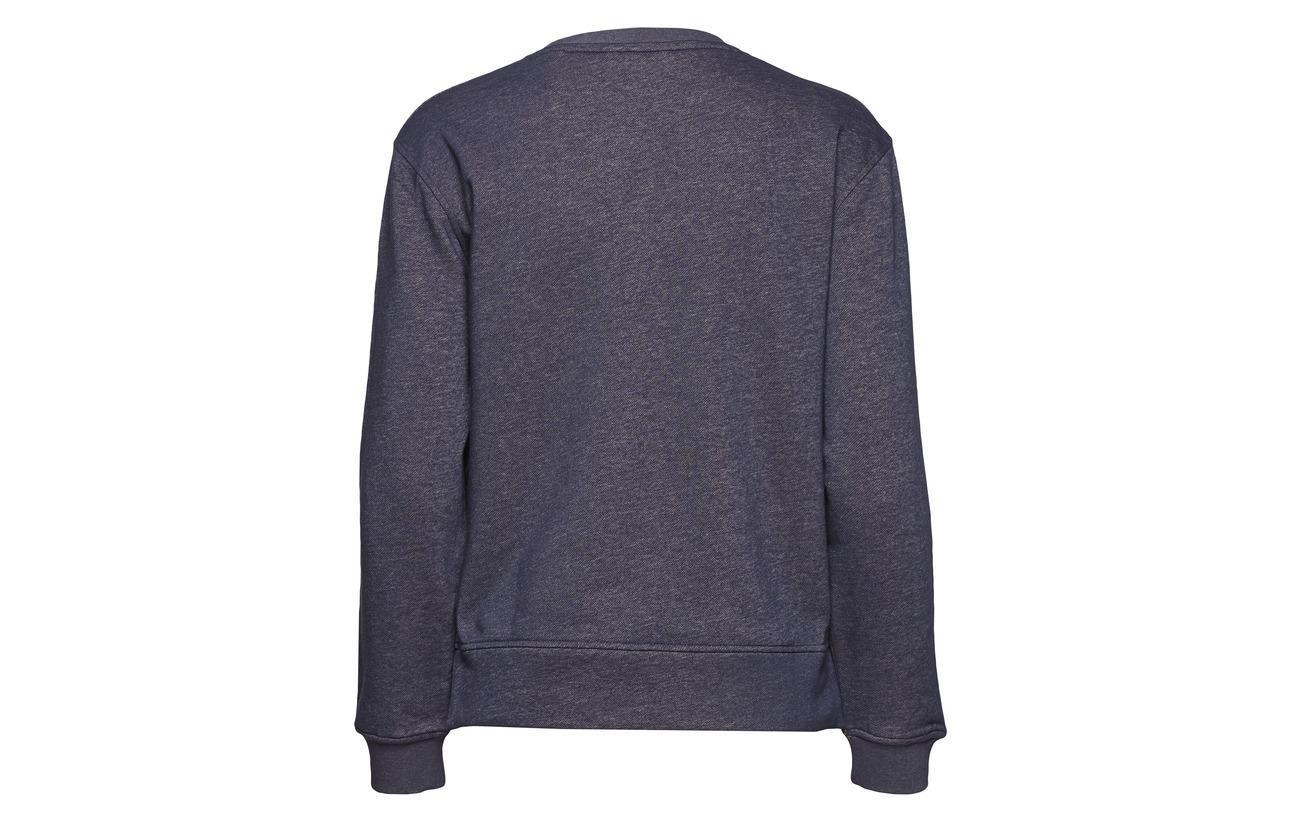 Gant Melange neck Sweat C Polyester Grey 90 Coton O2 10 Contrast Backside 6SnBqH60