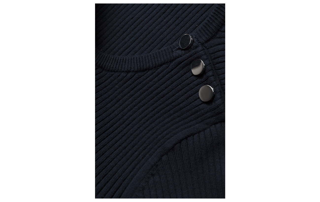 Gant Op2 18 Jumper Evening Équipement Elastane 4 Buttons Ribbed Blue With 78 Coton Polyamide fUwRf