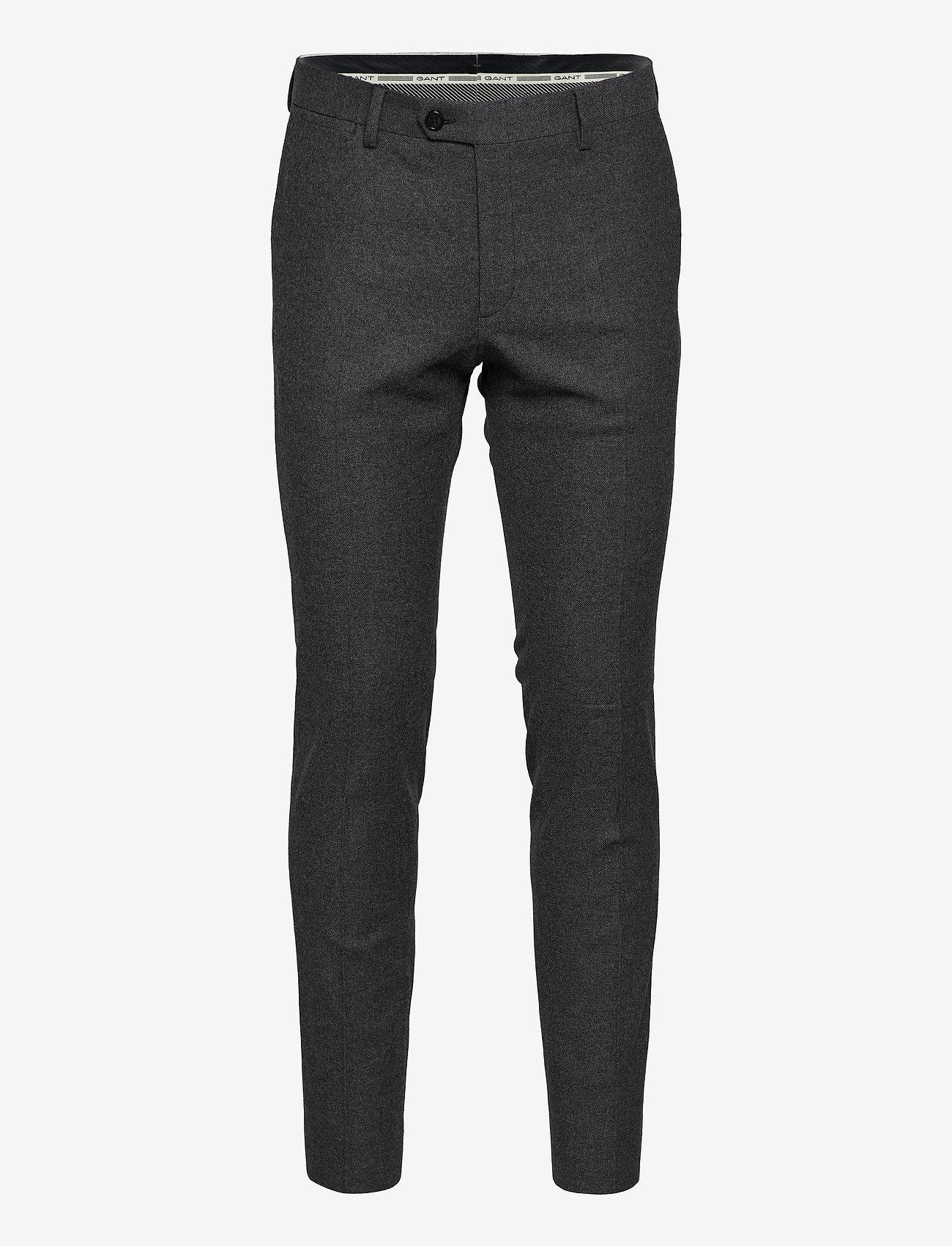 GANT - D1. SLIM FLANNEL SUIT PANT - suit trousers - charcoal melange - 0