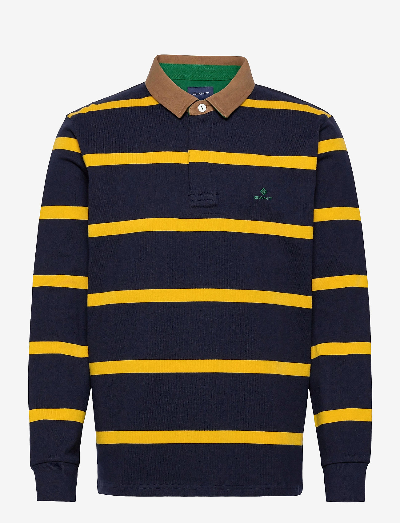 GANT - D1. BRETON STRIPE CONTRAST HR - long-sleeved polos - solar power yellow - 0