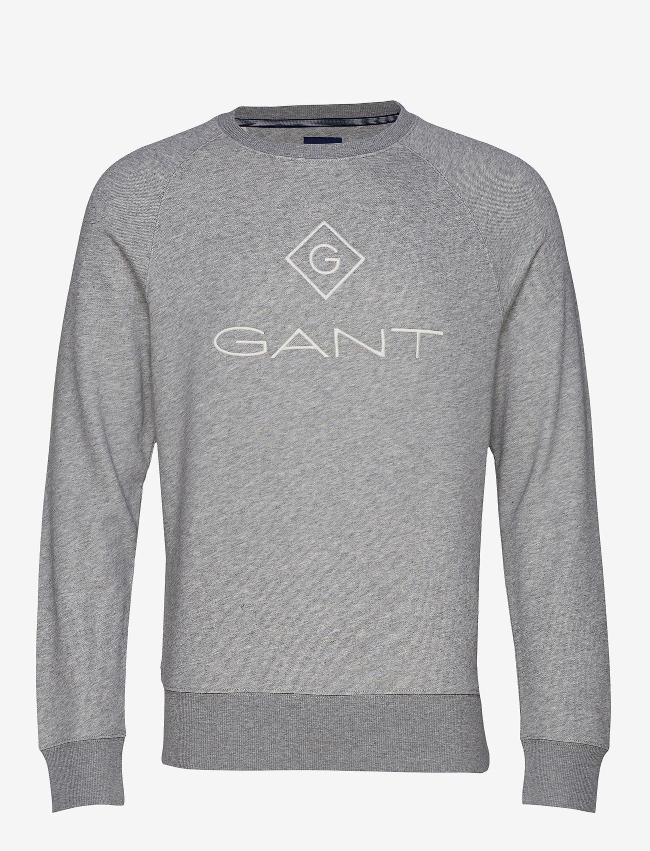 GANT - LOCK UP C - NECK SWEAT - oberteile - grey melange - 0