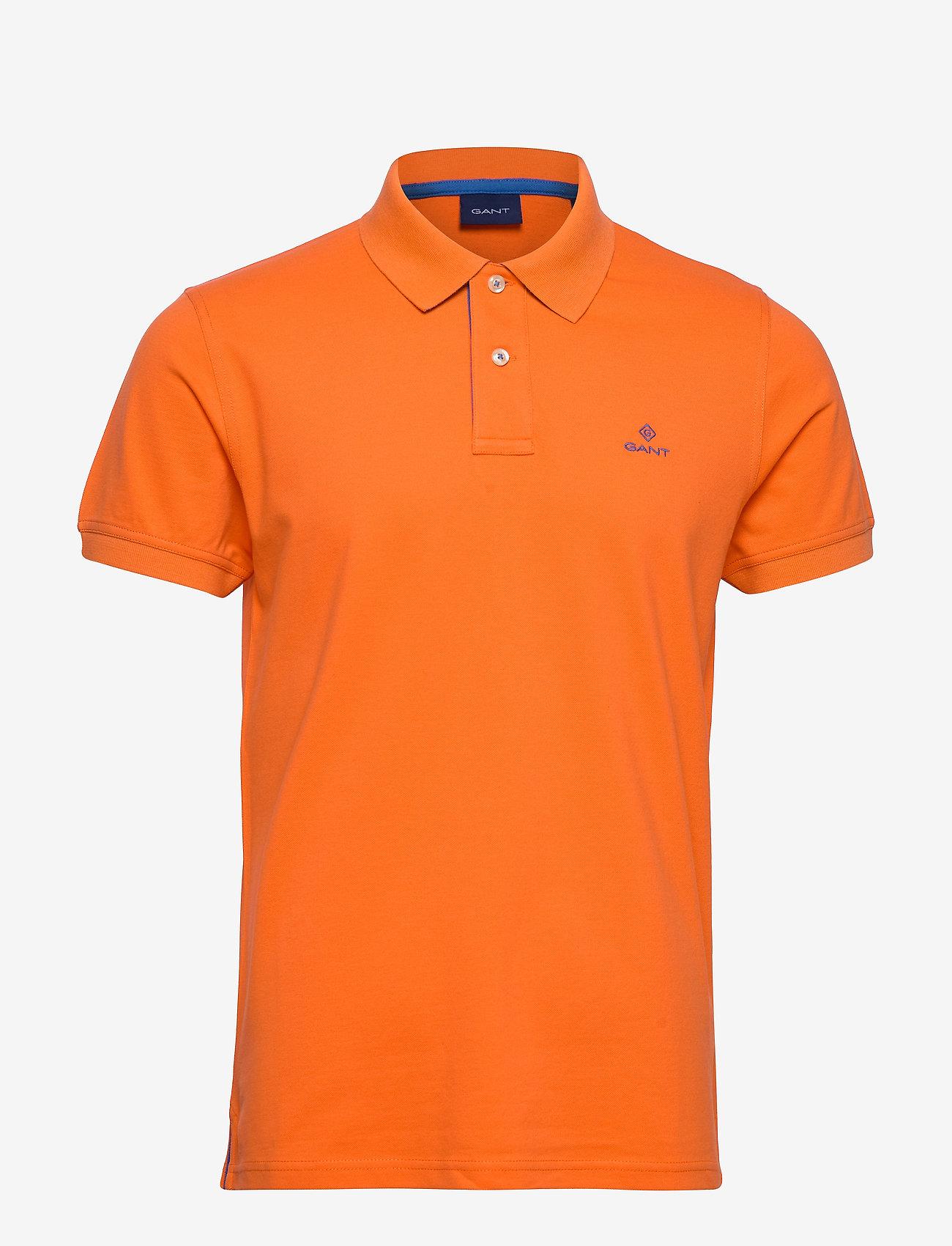 GANT - CONTRAST COLLAR PIQUE SS RUGGER - short-sleeved polos - sunny orange - 0