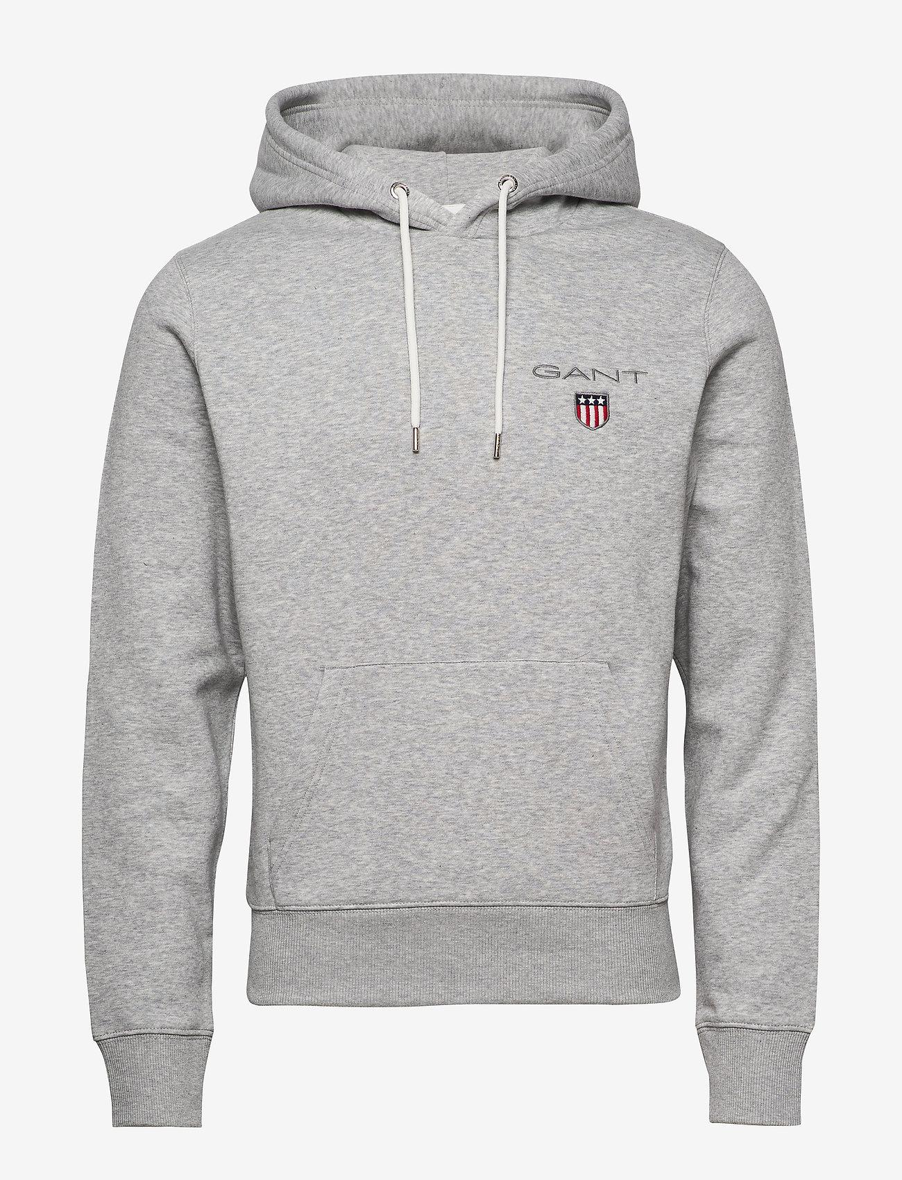 GANT - D1. MEDIUM SHIELD HOODIE - basic sweatshirts - light grey melange - 0