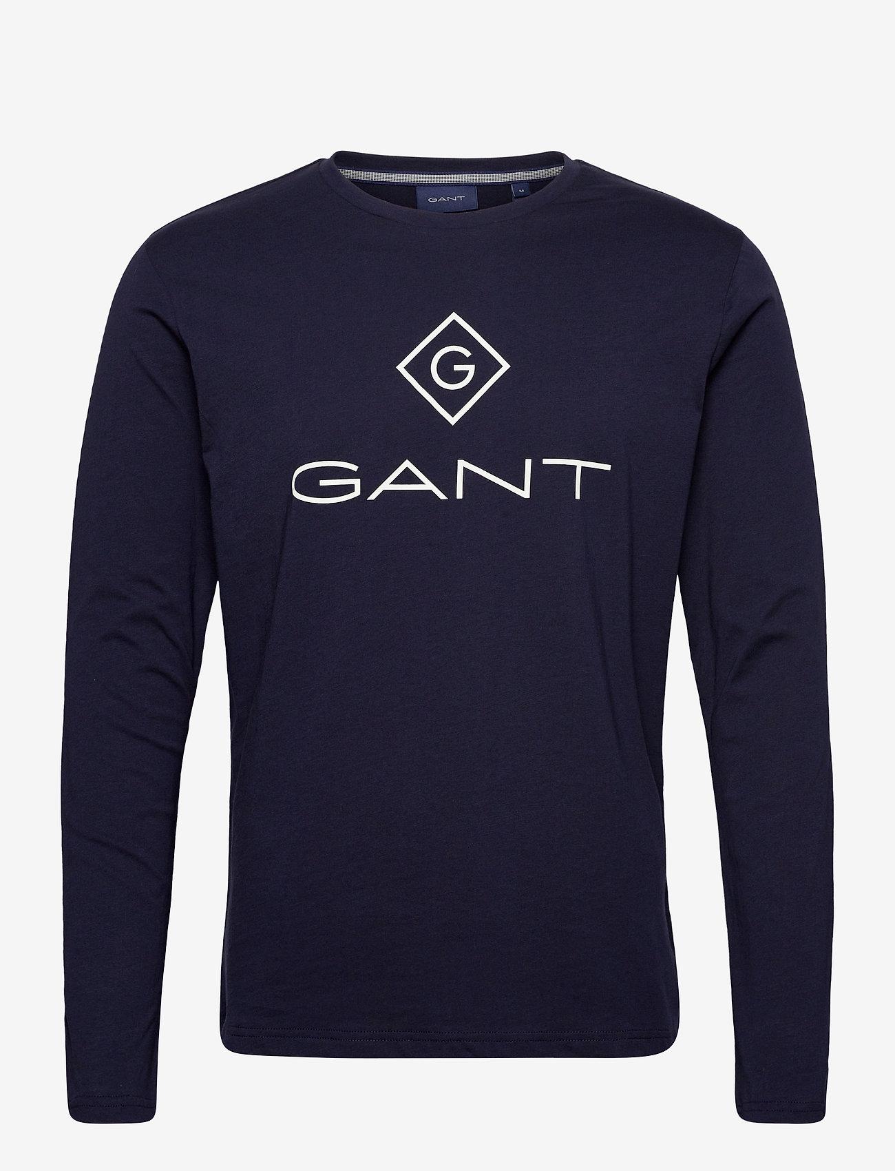 GANT - GANT LOCK UP LS T-SHIRT - long-sleeved t-shirts - evening blue - 0