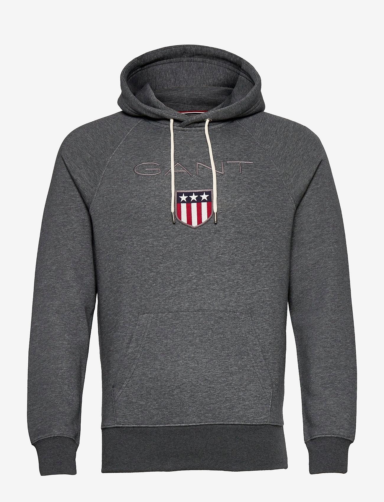 GANT - SHIELD HOODIE - hoodies - antracit melange - 0