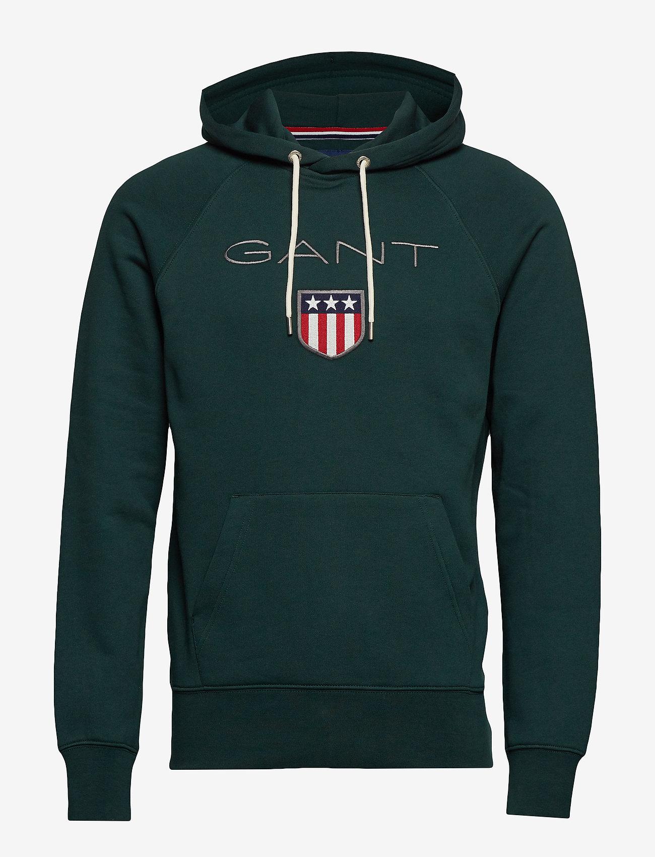 GANT - SHIELD HOODIE - hoodies - tartan green - 0
