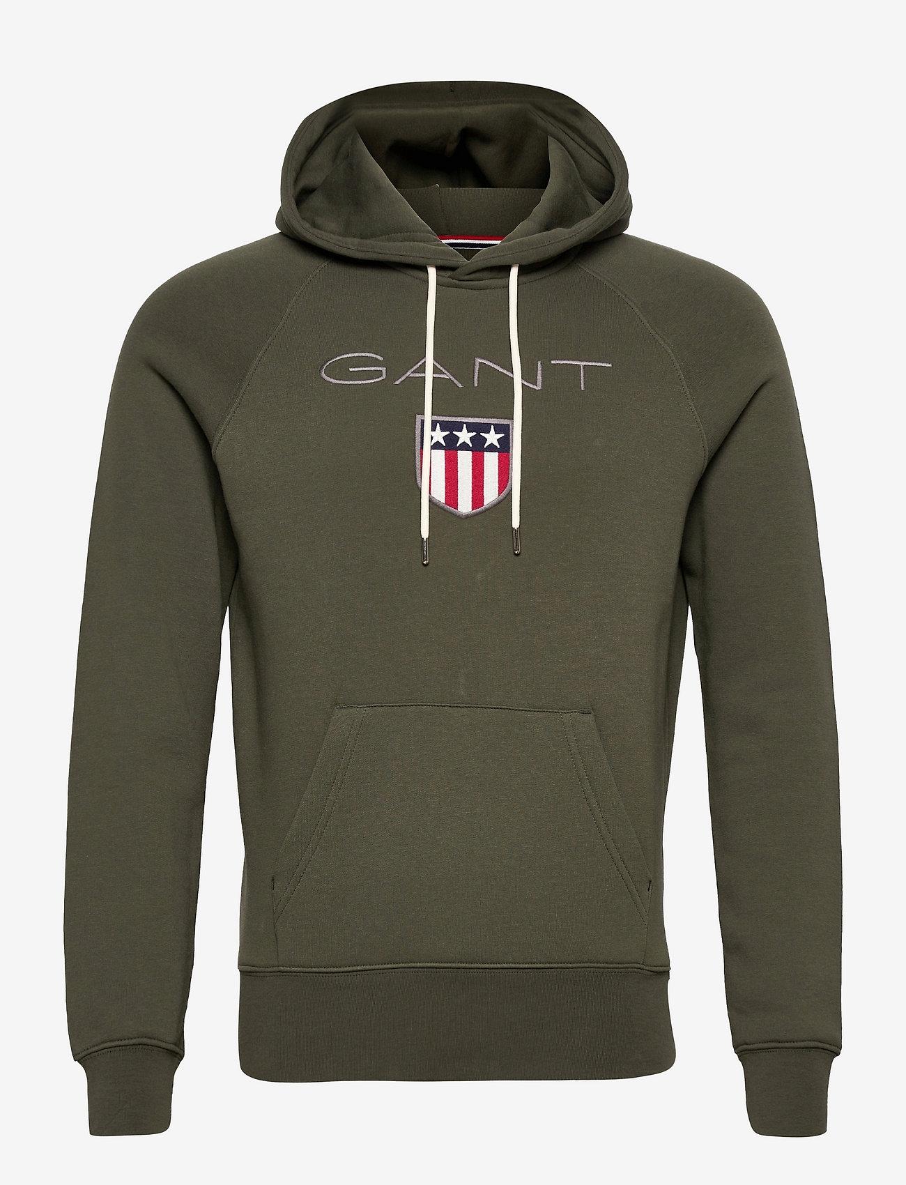 GANT - SHIELD HOODIE - hoodies - thyme green - 0