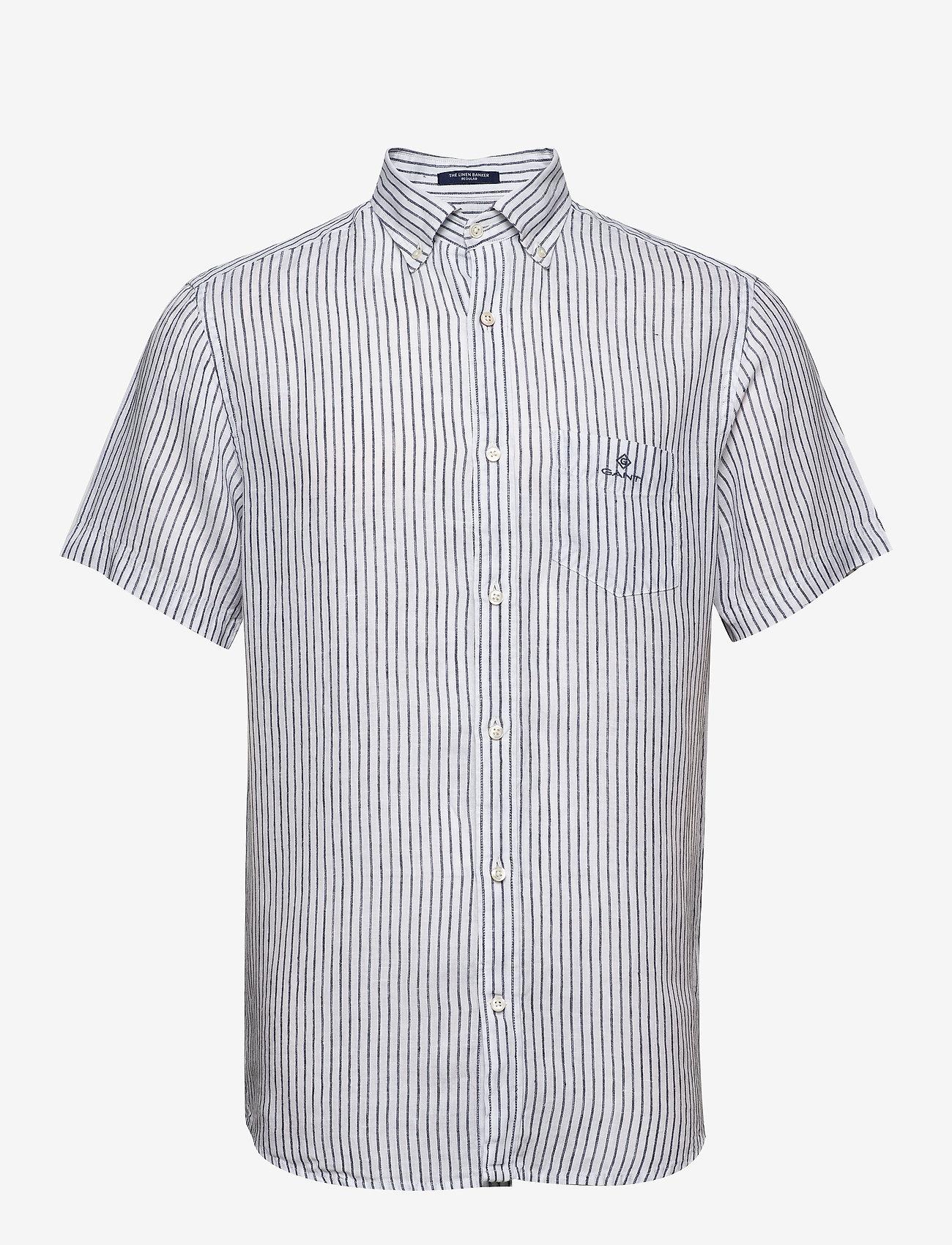 Gant - THE LINEN STRIPE REG SS BD - chemises de lin - white