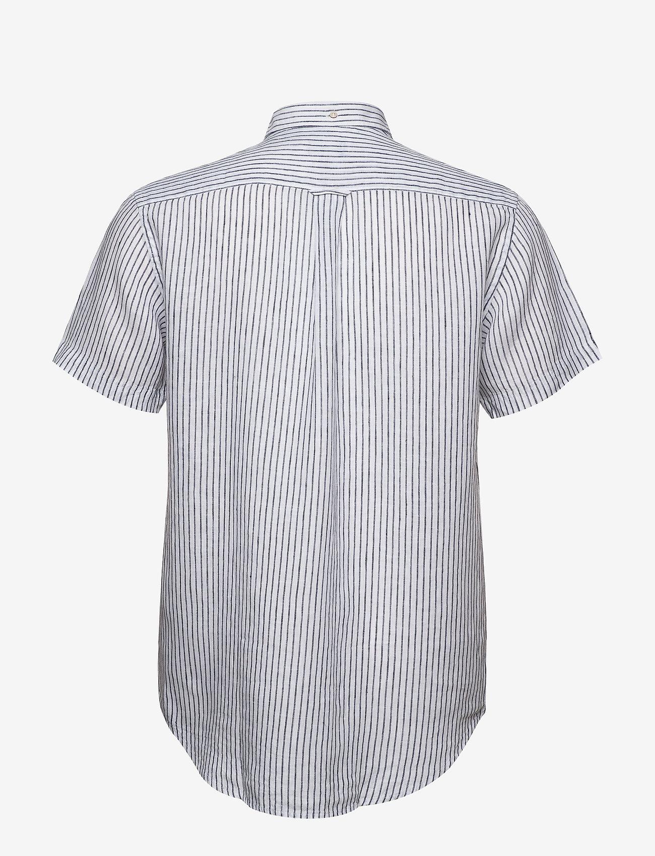 The Linen Stripe Reg Ss Bd (White) (900 kr) - GANT
