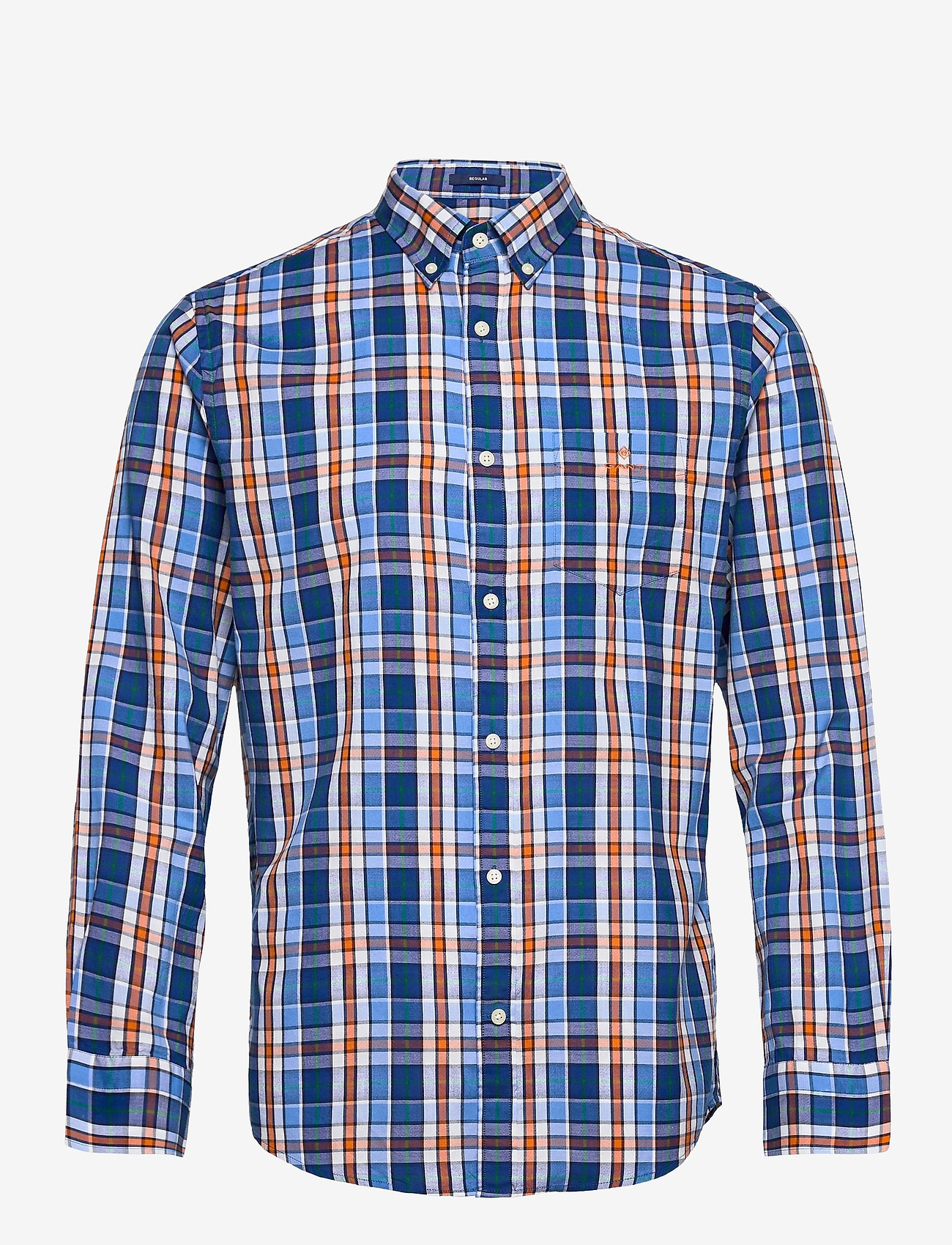 GANT - D1. WINDBLOWN OXFORD CHECK REG BD - oxford shirts - pacific blue - 0