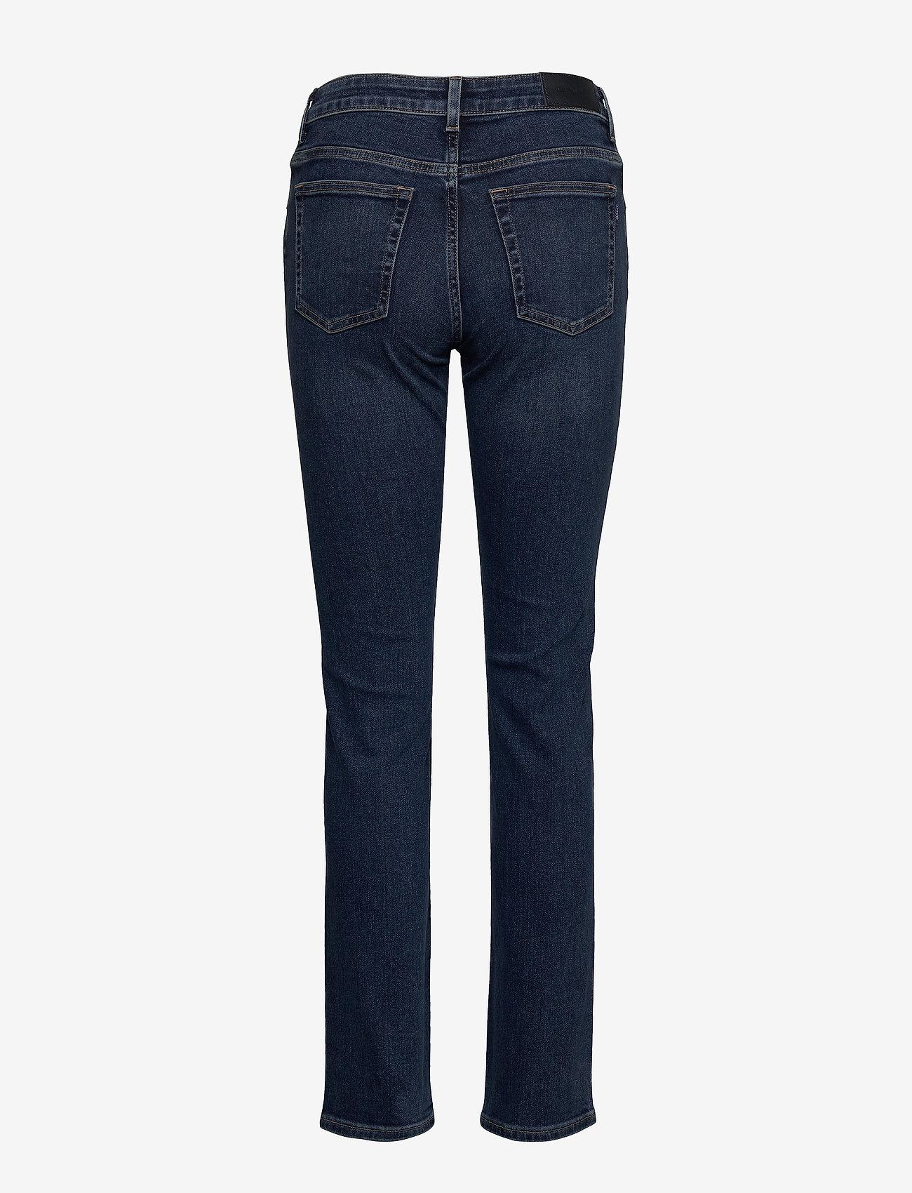 Gant - SLIM SUPER STRETCH JEANS - slim jeans - dark blue worn in