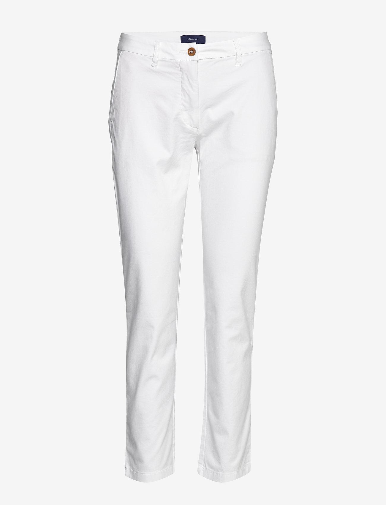 Gant - CLASSIC CHINO - straight leg trousers - white