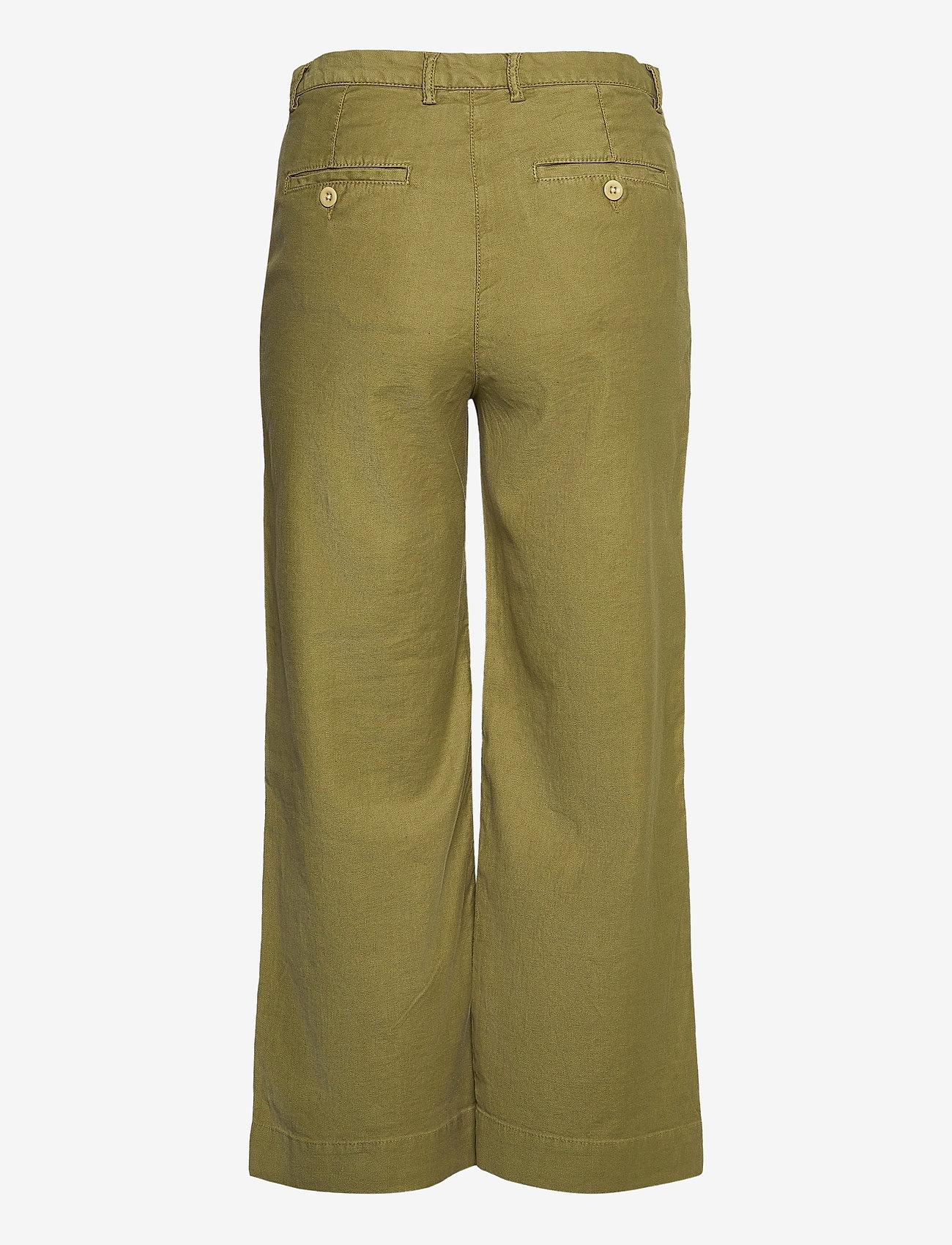 GANT - D1. HW SUMMER LINEN PANT - bukser med brede ben - olive green - 1