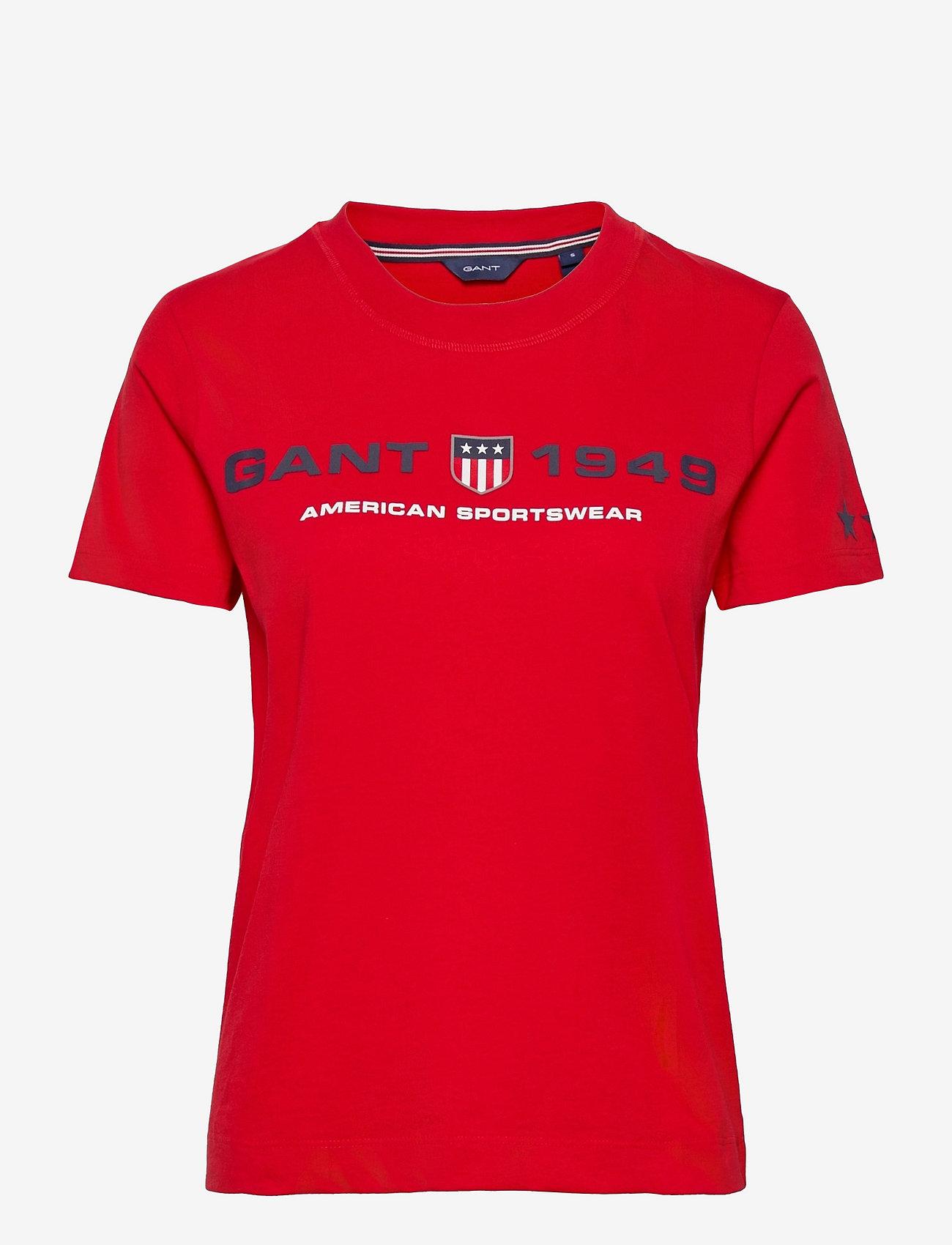 GANT - D2.GANT RETRO SHIELD SS T-SHIRT - t-shirts - bright red - 0