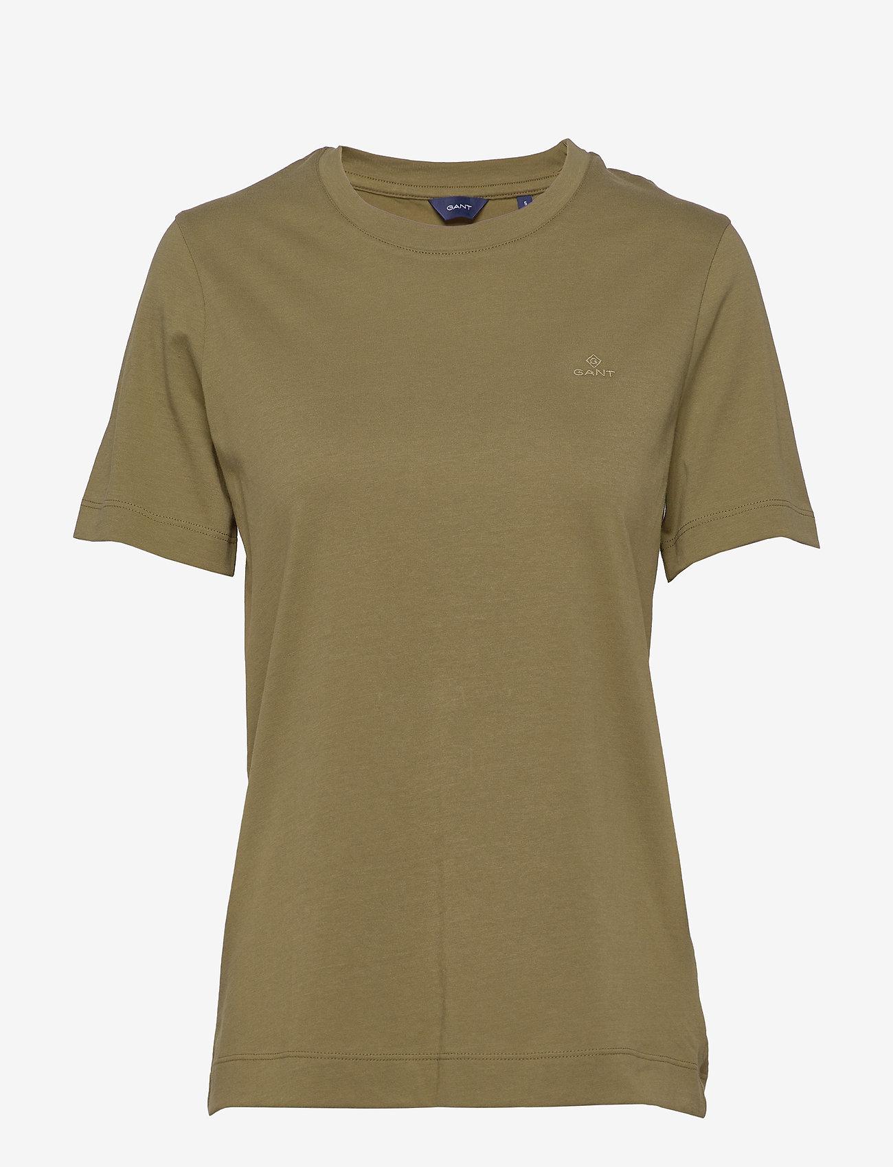 GANT - ORIGINAL SS T-SHIRT - basic t-shirts - olive green - 0