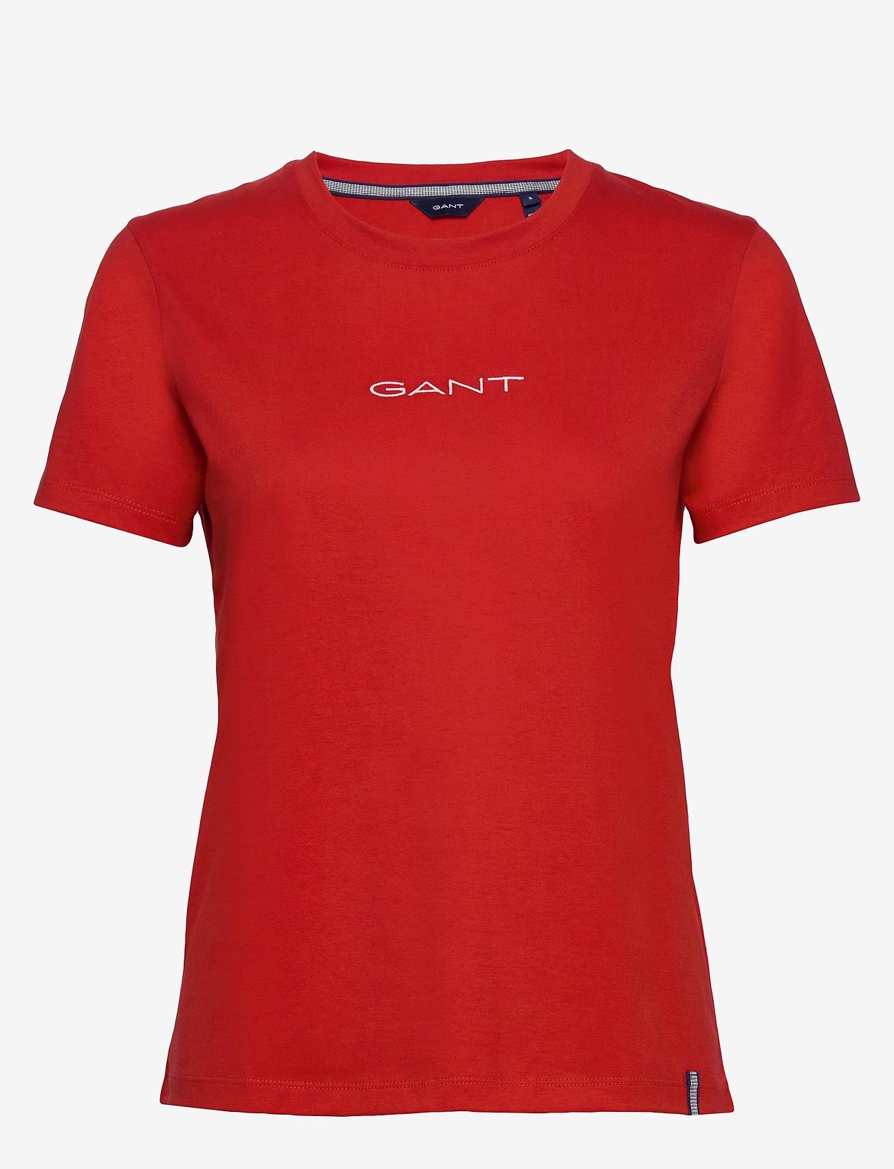 GANT - D1. 13 STRIPES SS T-SHIRT - t-shirts - fiery red - 0