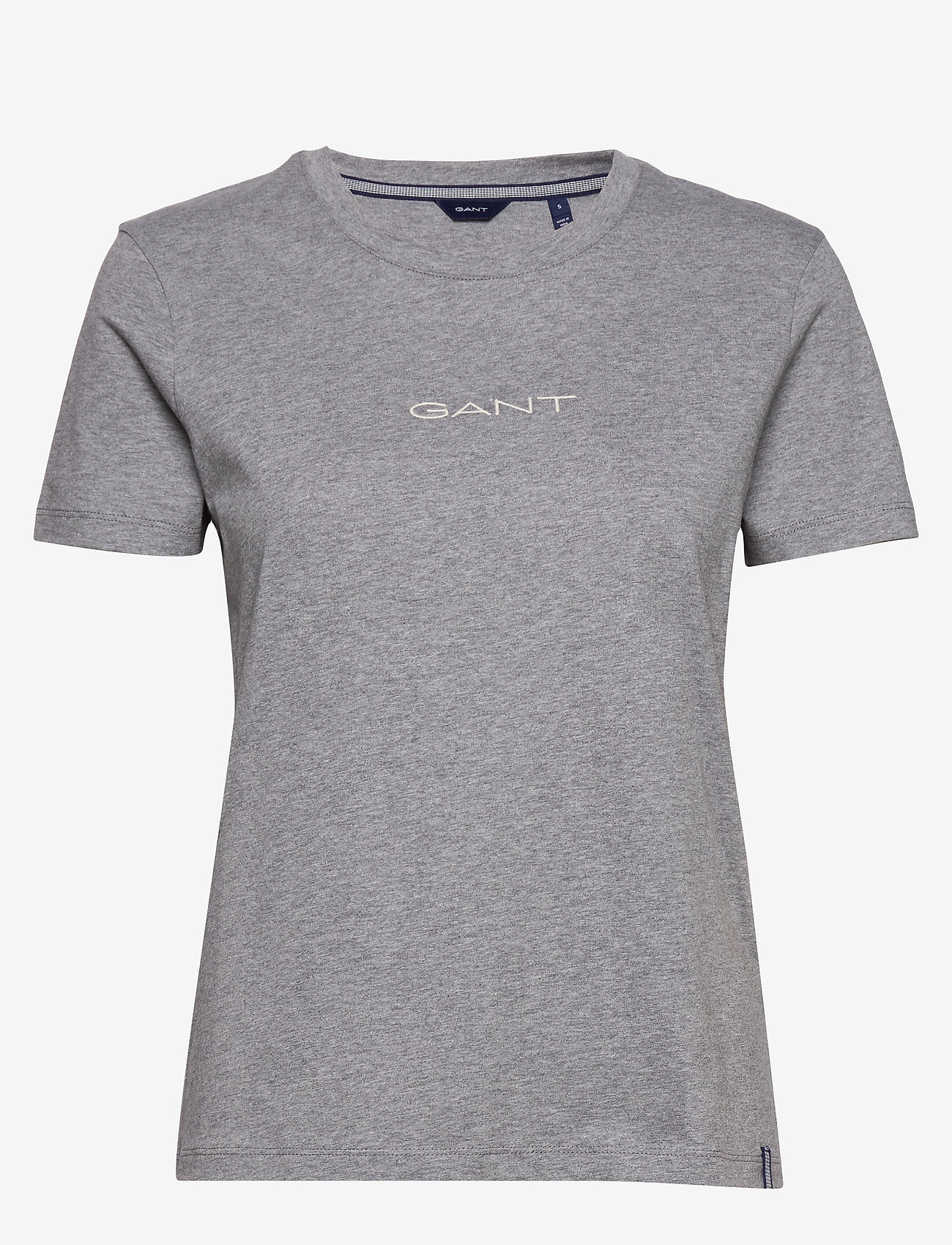 GANT - D1. 13 STRIPES SS T-SHIRT - t-shirts - grey melange - 0