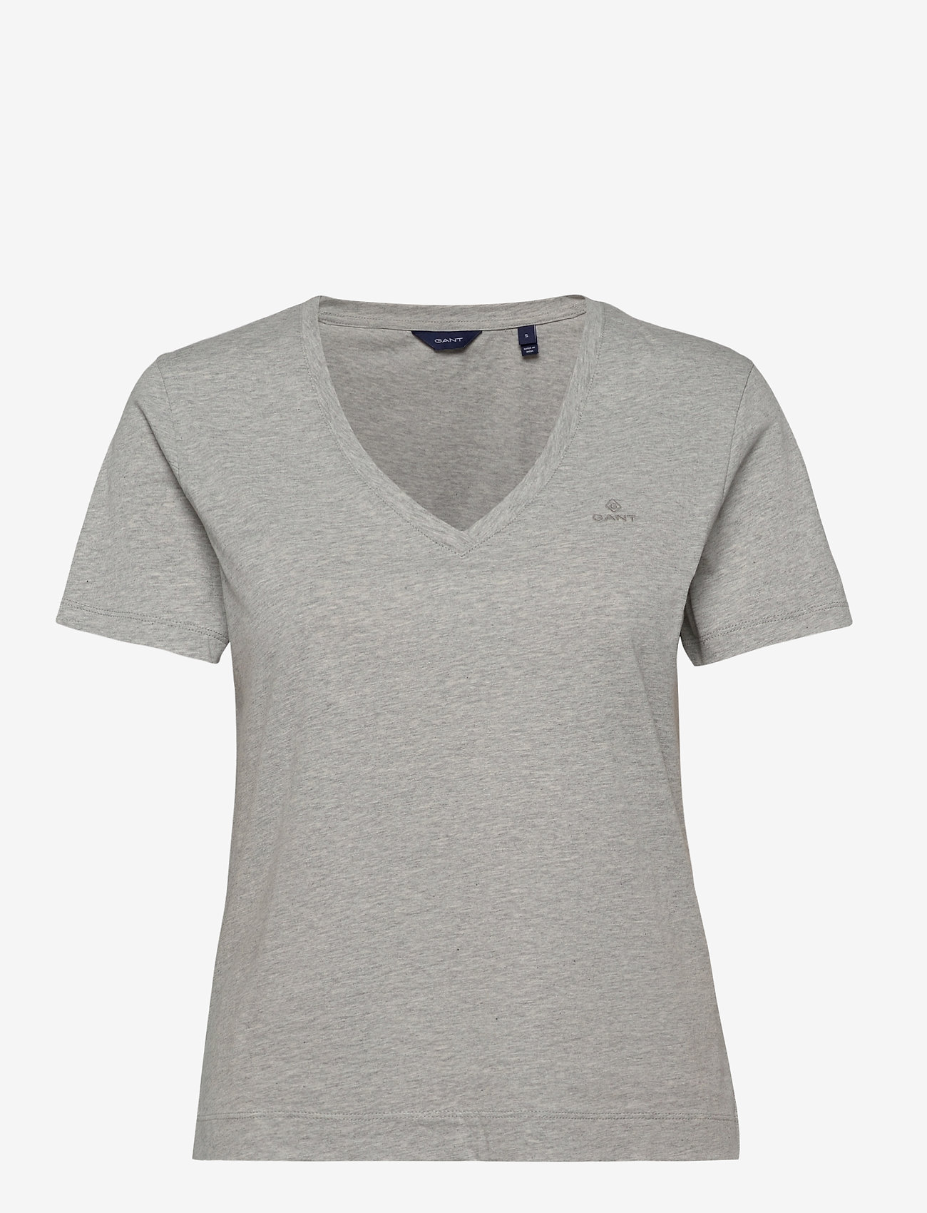 GANT - ORIGINAL V-NECK SS T-SHIRT - t-shirts - light grey melange - 0