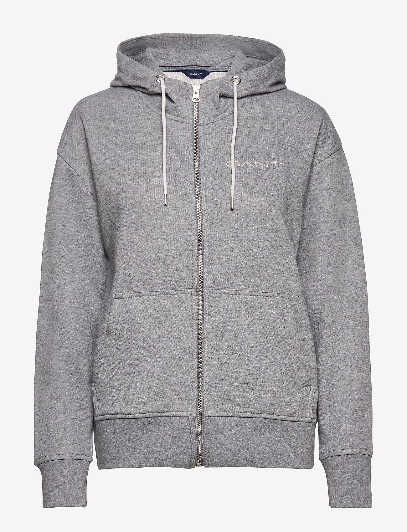GANT - D1. 13 STRIPES FULL ZIP HOODIE - hoodies - grey melange - 0