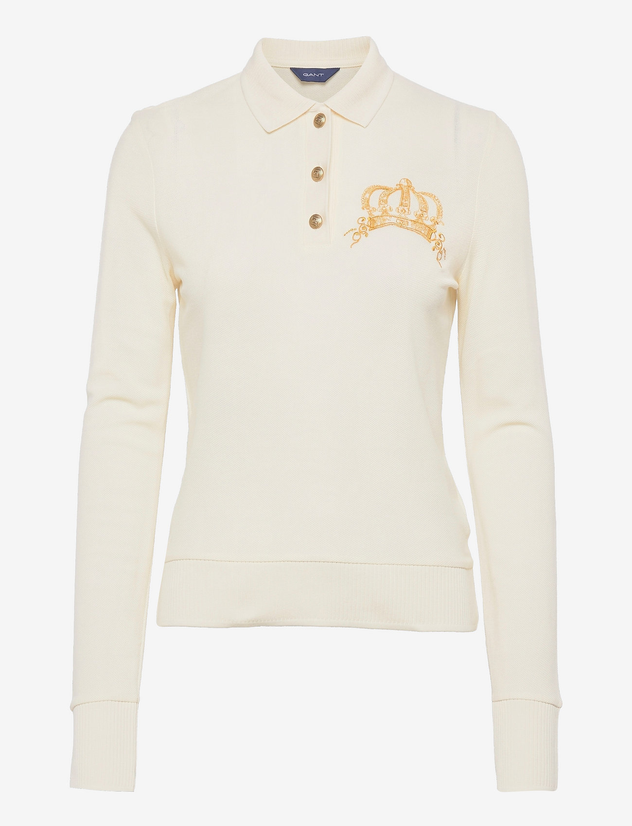 GANT - D1. CROWN EMBROIDERY POLO PIQUE - t-shirt & tops - cream - 0