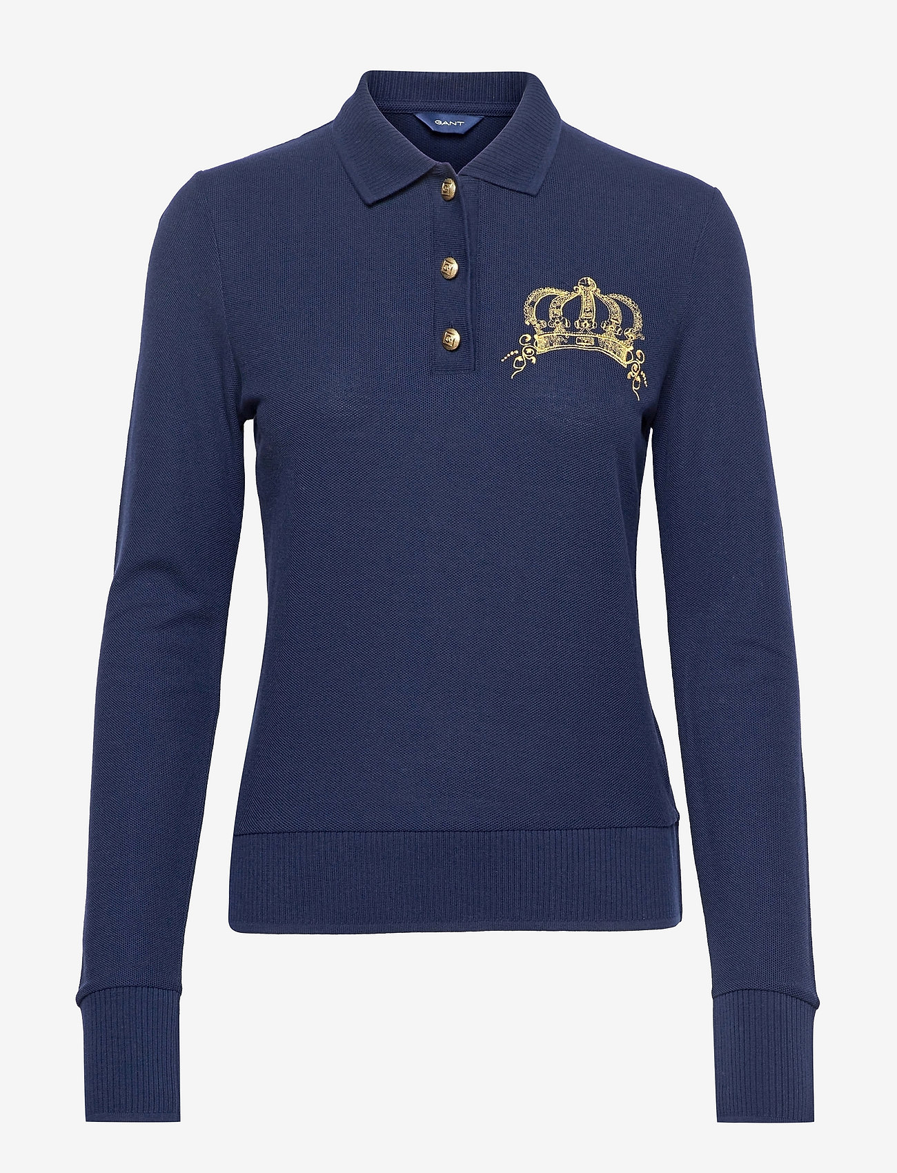 GANT - D1. CROWN EMBROIDERY POLO PIQUE - t-shirt & tops - evening blue - 0