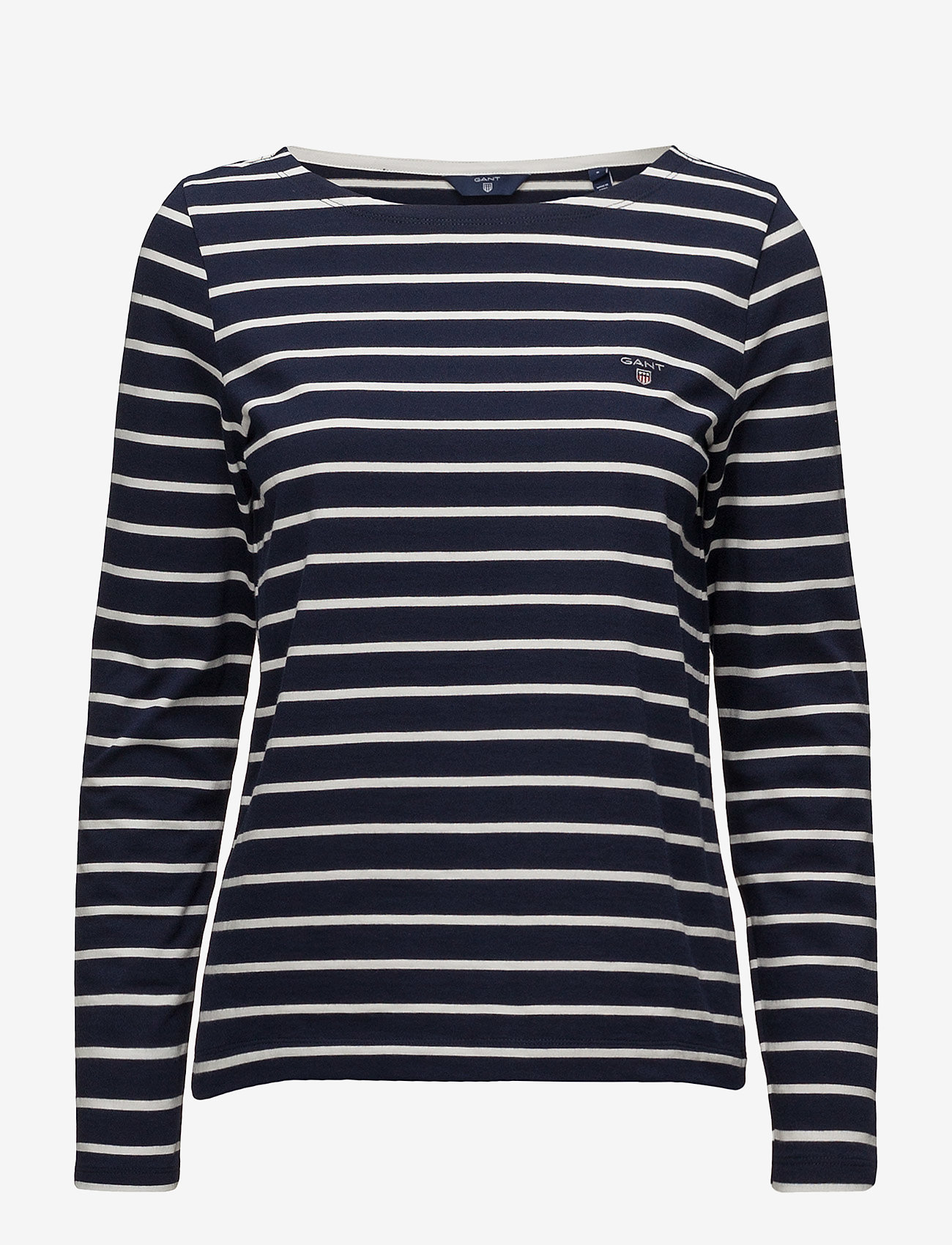 Gant - BRETON STRIPE BOATNECK JUMPER - logo t-shirts - evening blue