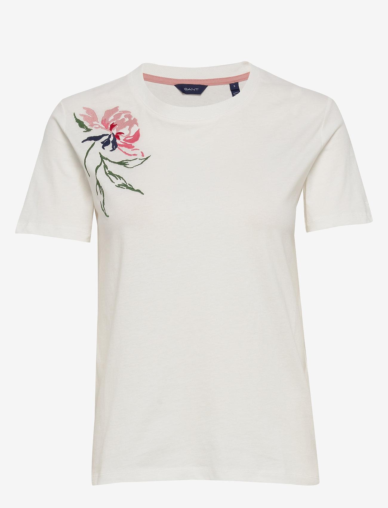 Gant - D1. PEONIES SS T-SHIRT - t-shirts - eggshell