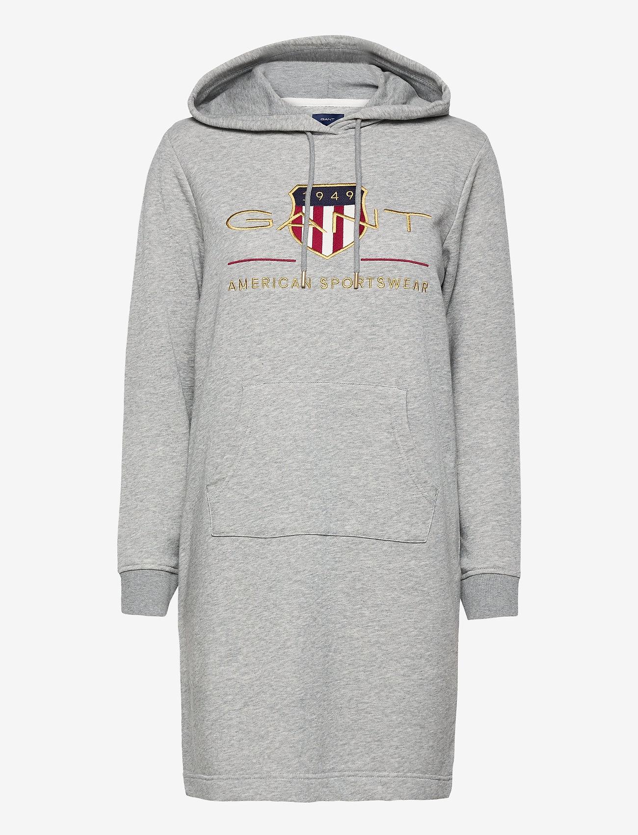 GANT - D1. ARCHIVE SHIELD HOODIE DRESS - short dresses - grey melange - 0
