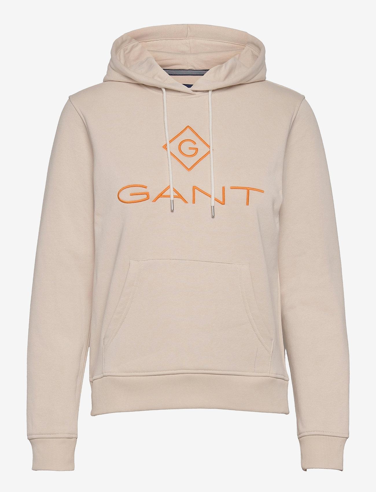 GANT - D2. COLOR LOCK UP HOODIE - hoodies - putty - 0