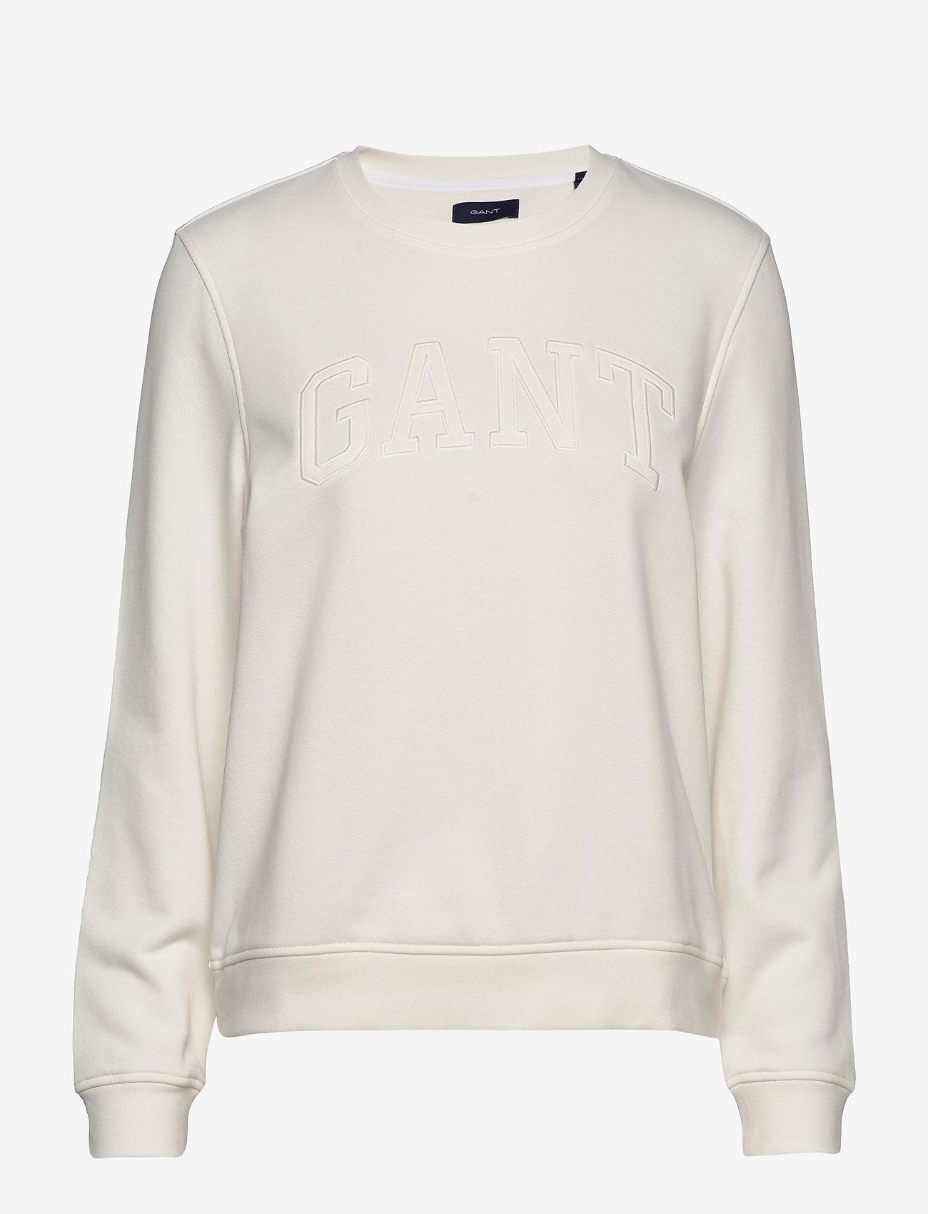 GANT - ARCH LOGO C-NECK SWEAT - sweatshirts - eggshell - 0