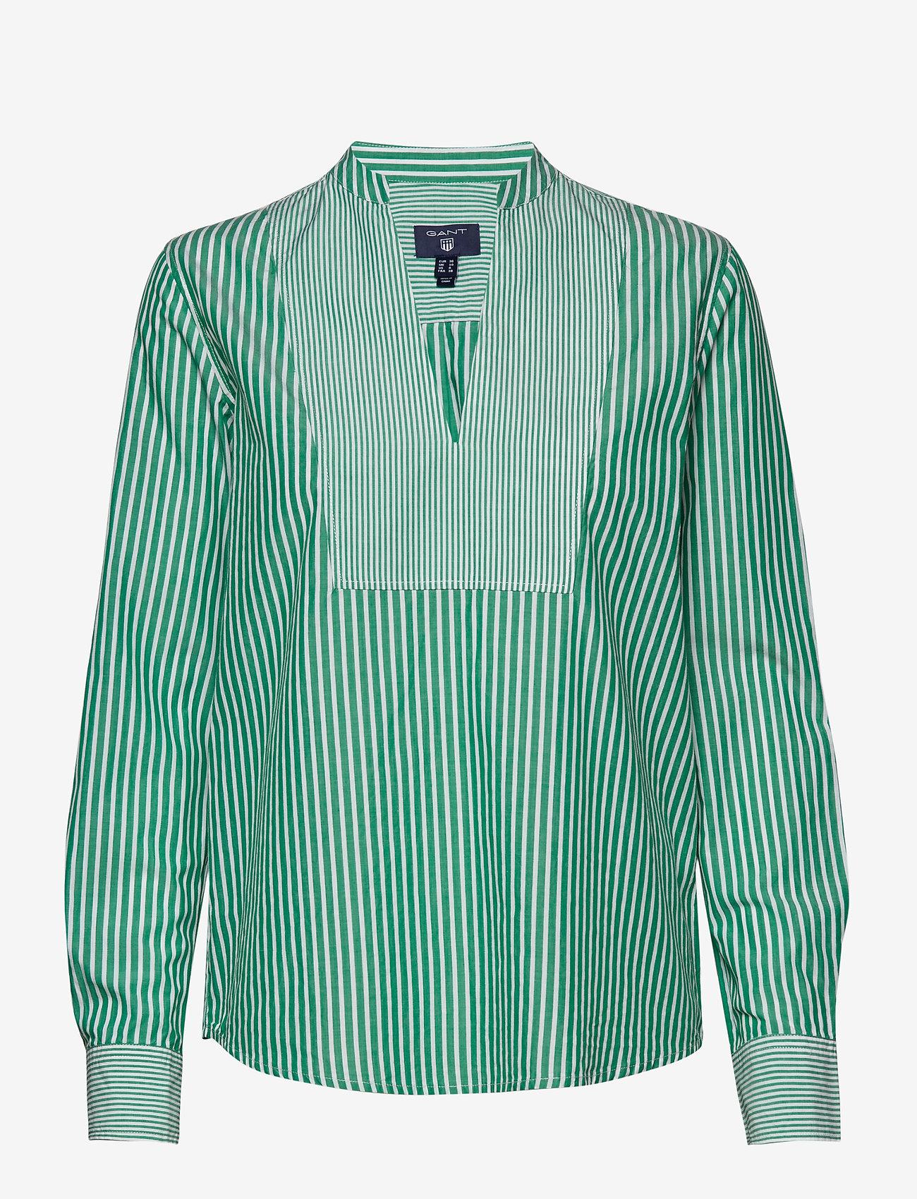 GANT - O1. PREPPY STRIPED POPOVER SHIRT - long sleeved blouses - emerald green - 0