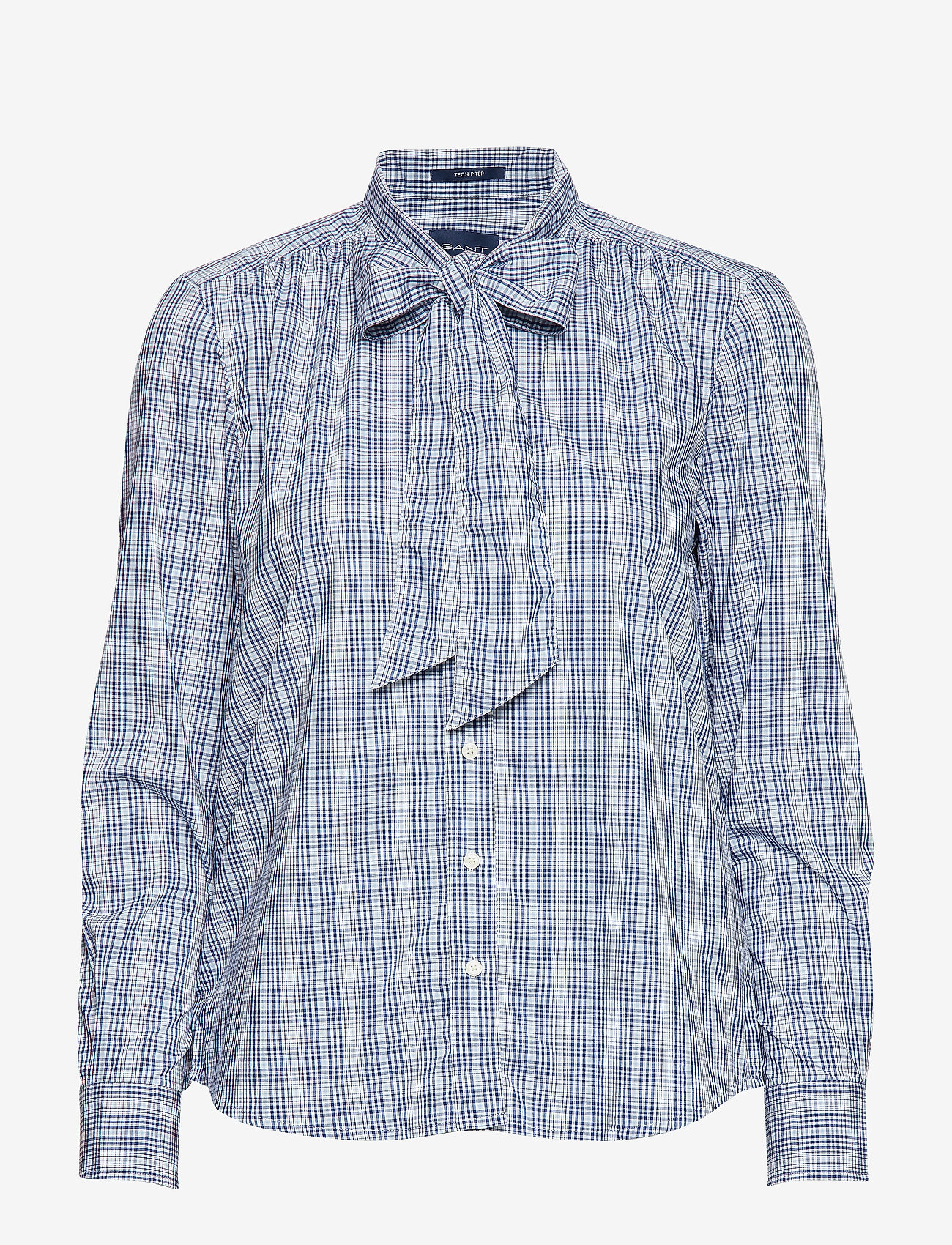 Gant - D1. TP CHECKED BOW BLOUSE - pitkähihaiset paidat - crisp blue