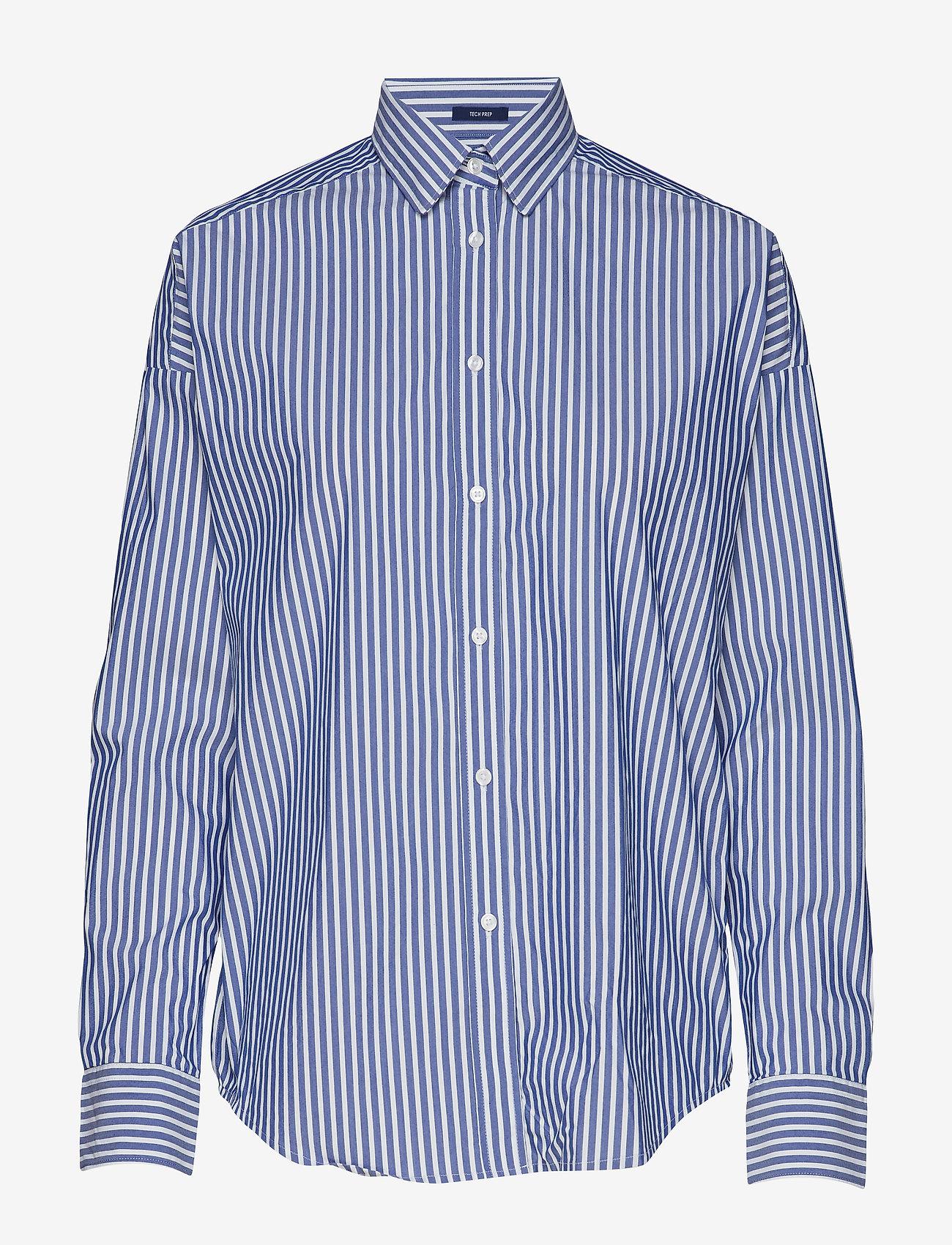 Gant - D1. TP BC STRIPED OVERSIZED SHIRT - pitkähihaiset paidat - college blue