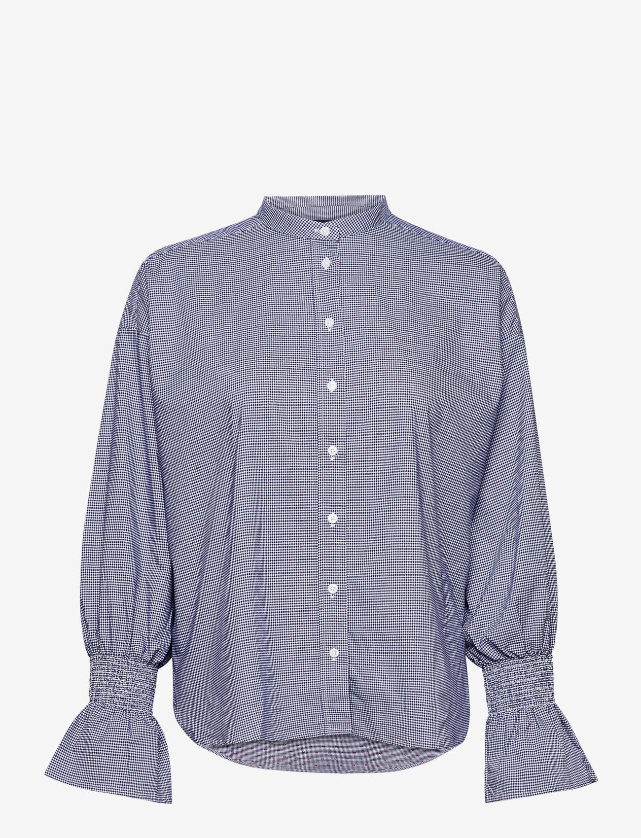 GANT - D1. TP SMOCK SLEEVE CHECK SHIRT - long-sleeved shirts - crisp blue - 0