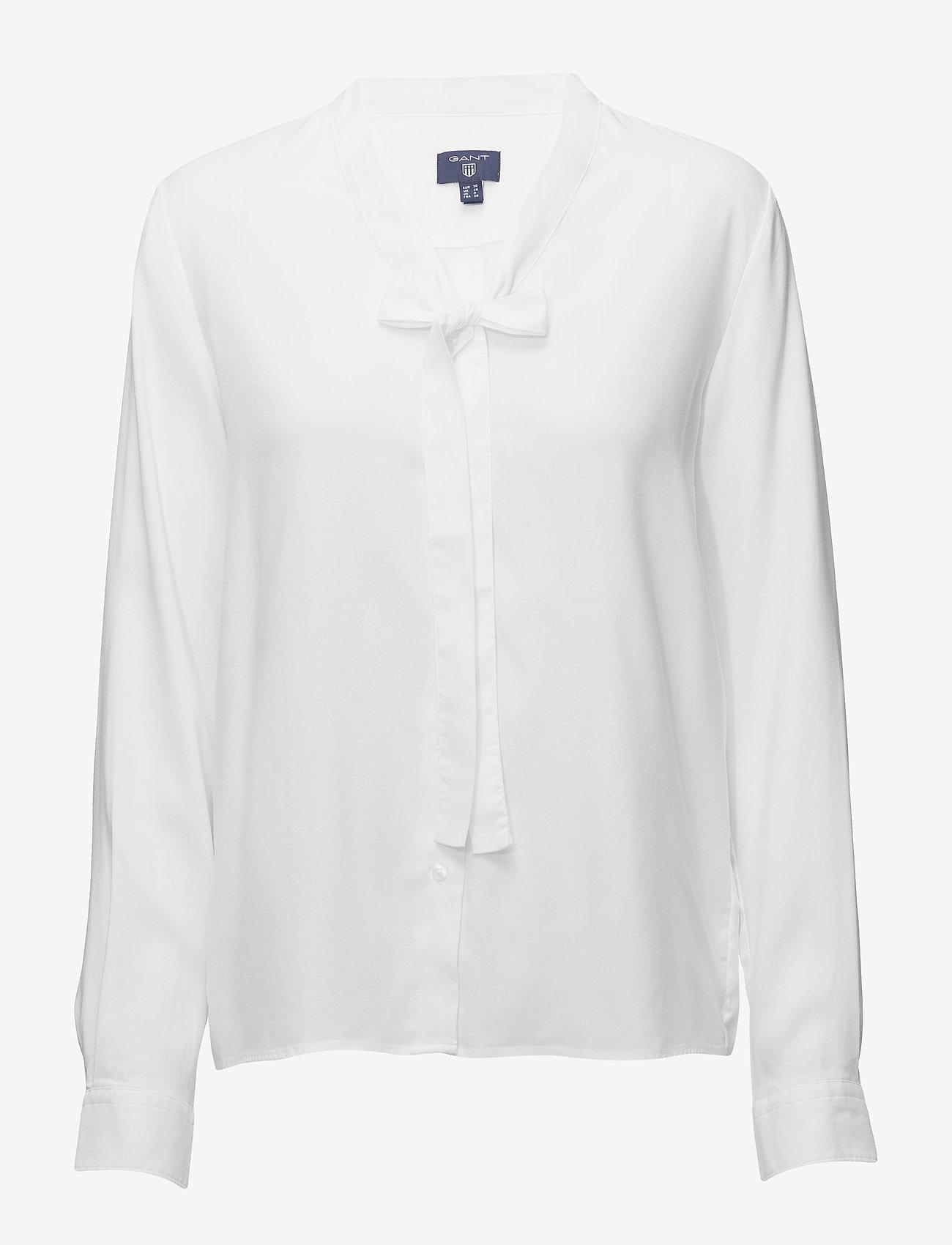 Gant - O1. TP OXFORD BOW BLOUSE - pitkähihaiset puserot - white