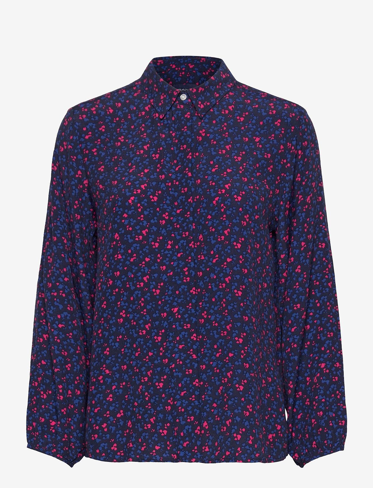 GANT - D1. CLOVER GARDEN VISCOSE BLOUSE - long sleeved blouses - evening blue - 0