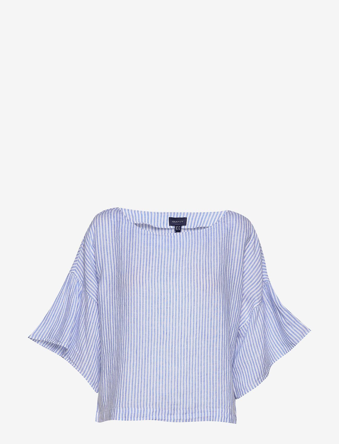 Gant - D2. LINEN STRIPE TOP - blouses à manches longues - pacific blue