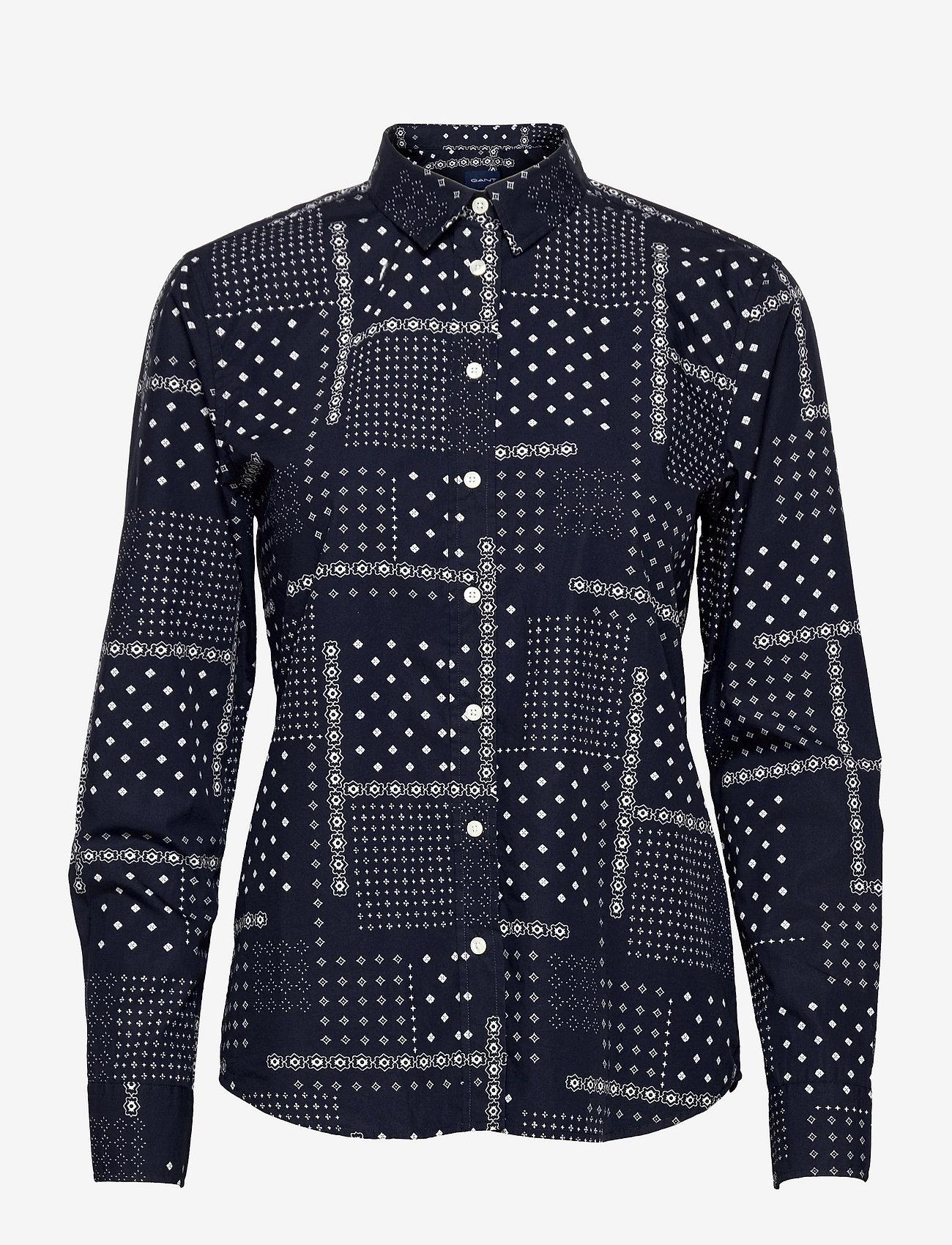 GANT - D2. MICRO PAISLEY B.CLOTH SHIRT - long-sleeved shirts - evening blue - 0