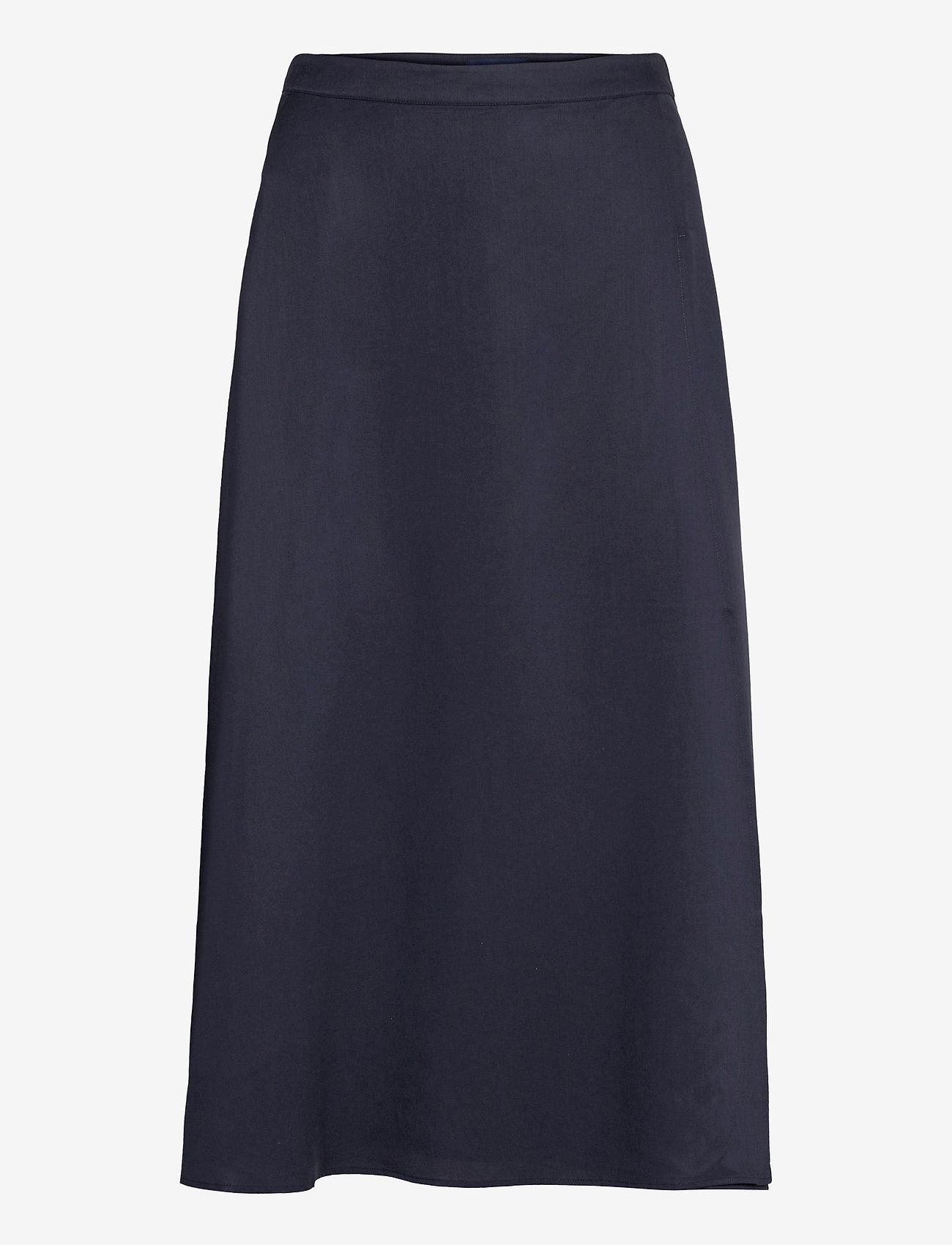 GANT - D1. TWILL WRAP MIDI SKIRT - midi skirts - evening blue - 0