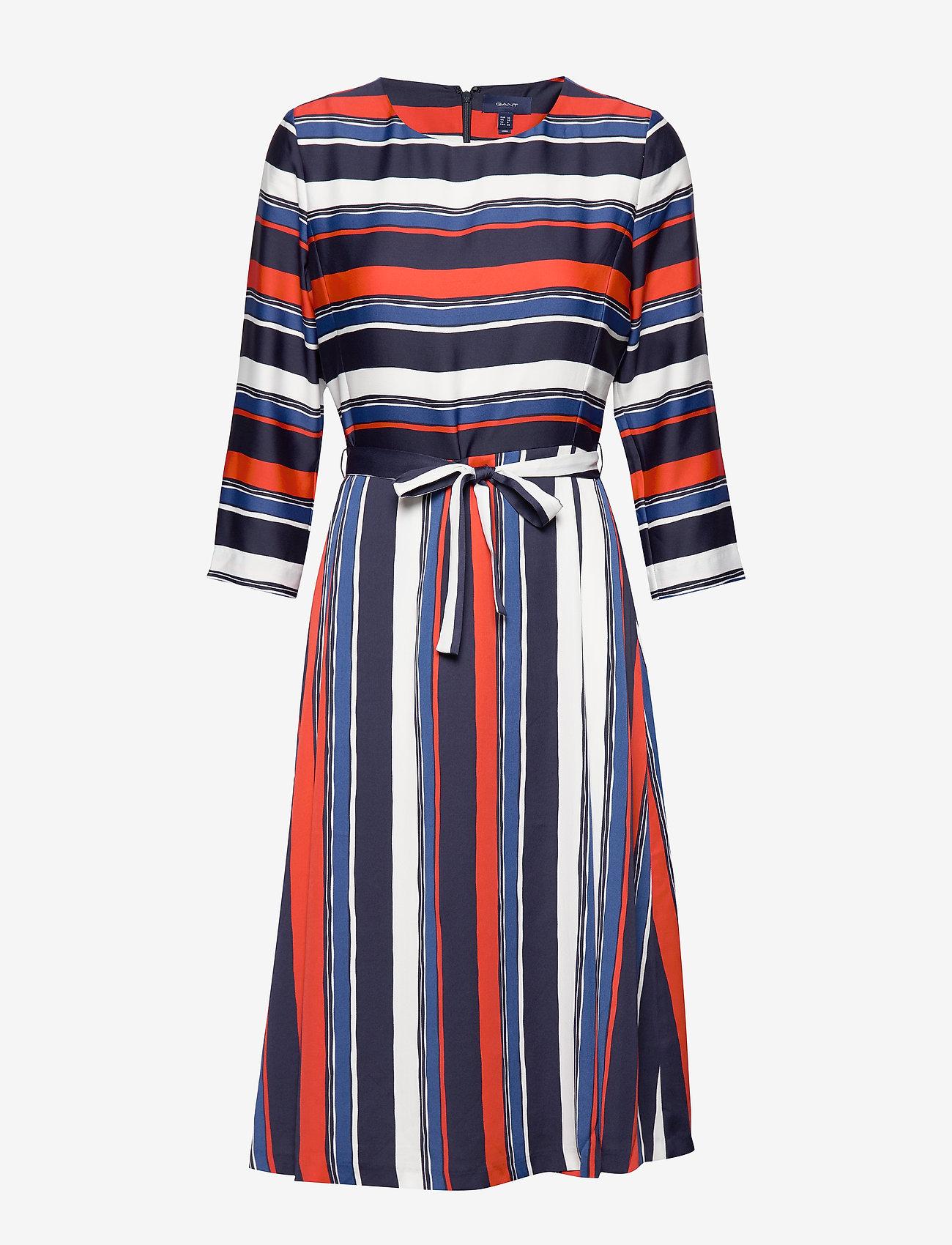 Gant - D1. PREPPY STRIPE FLARED DRESS - midimekot - vintage blue