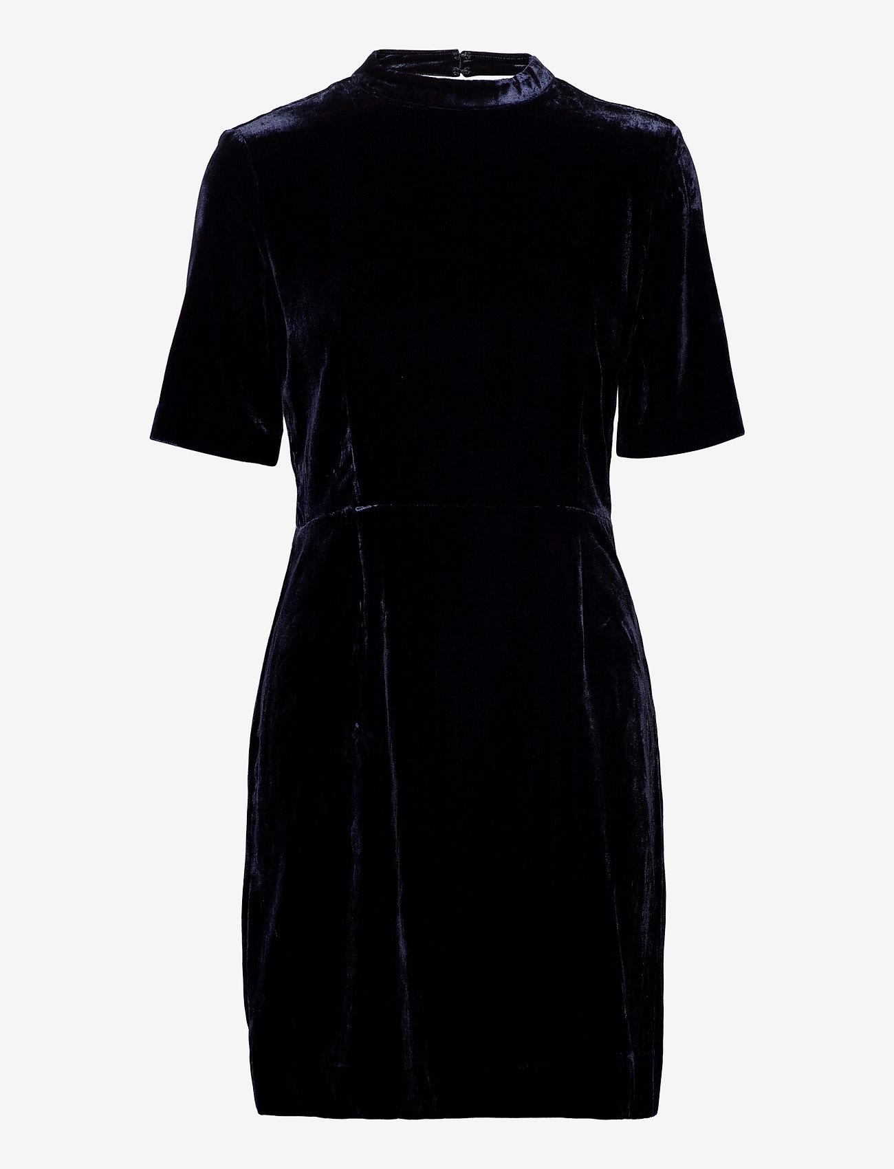 GANT - D2. FITTED VELVET DRESS - short dresses - evening blue - 0