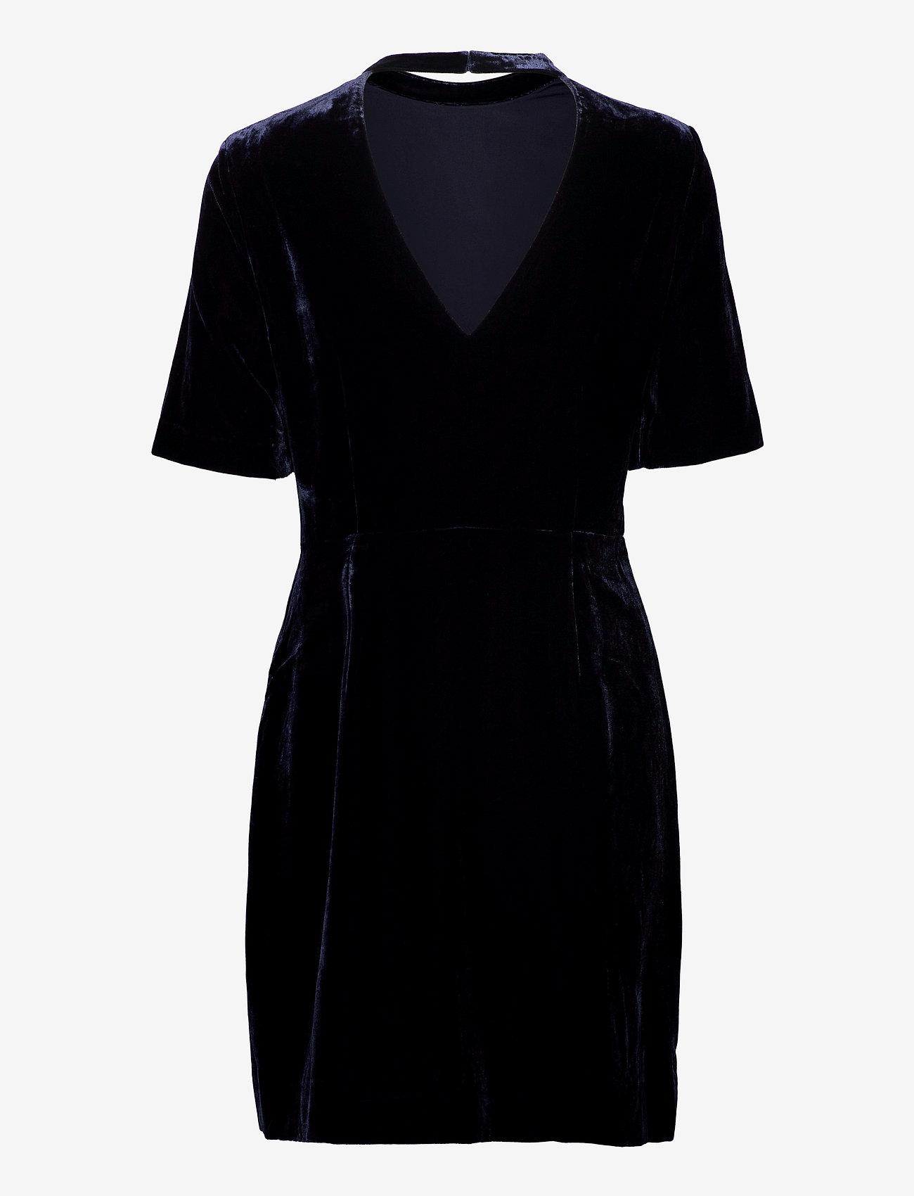 GANT - D2. FITTED VELVET DRESS - short dresses - evening blue - 1