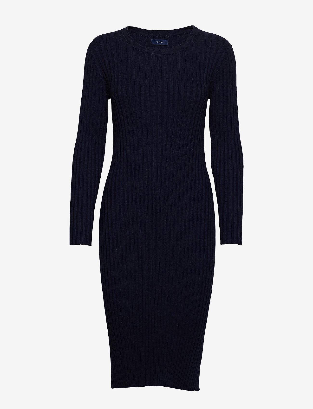 Gant - D1. RIB KNITTED DRESS - midimekot - evening blue