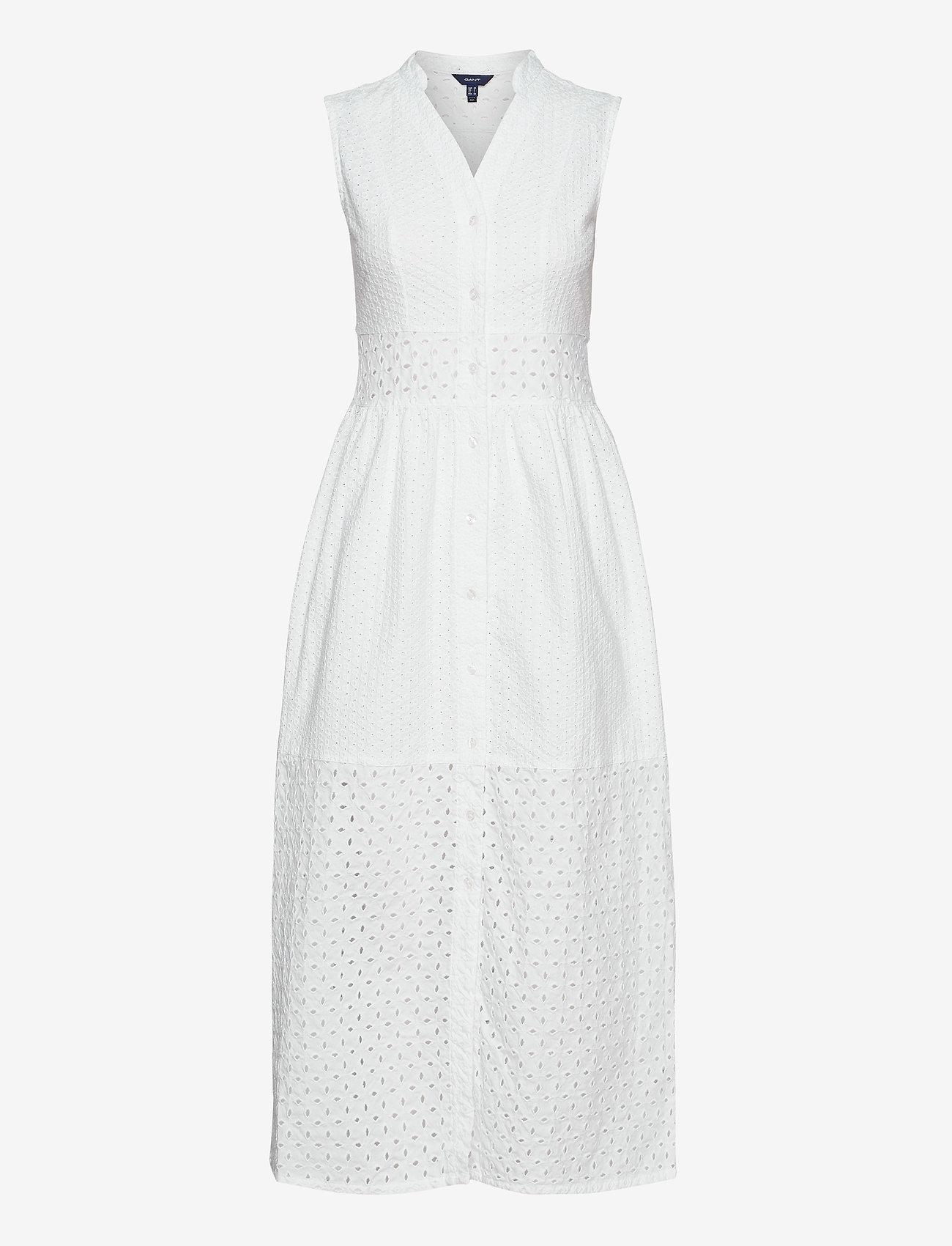 GANT - D1. BRODERIE ANGLAISE MAXI DRESS - midi dresses - white - 0
