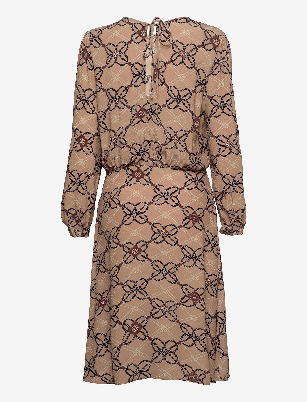 GANT - D1. ROPE PRINT VISCOSE CREPE DRESS - everyday dresses - warm khaki - 1