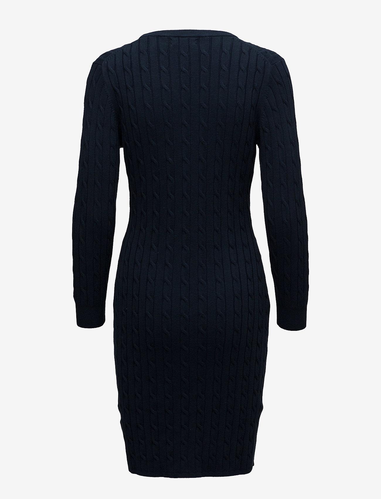 GANT - STRETCH COTTON CABLE DRESS - bodycon kleitas - evening blue - 1