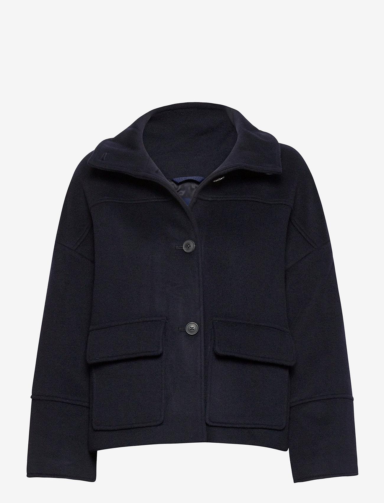 GANT - D1. WOOL BLEND CROPPED JACKET - wool jackets - evening blue - 0